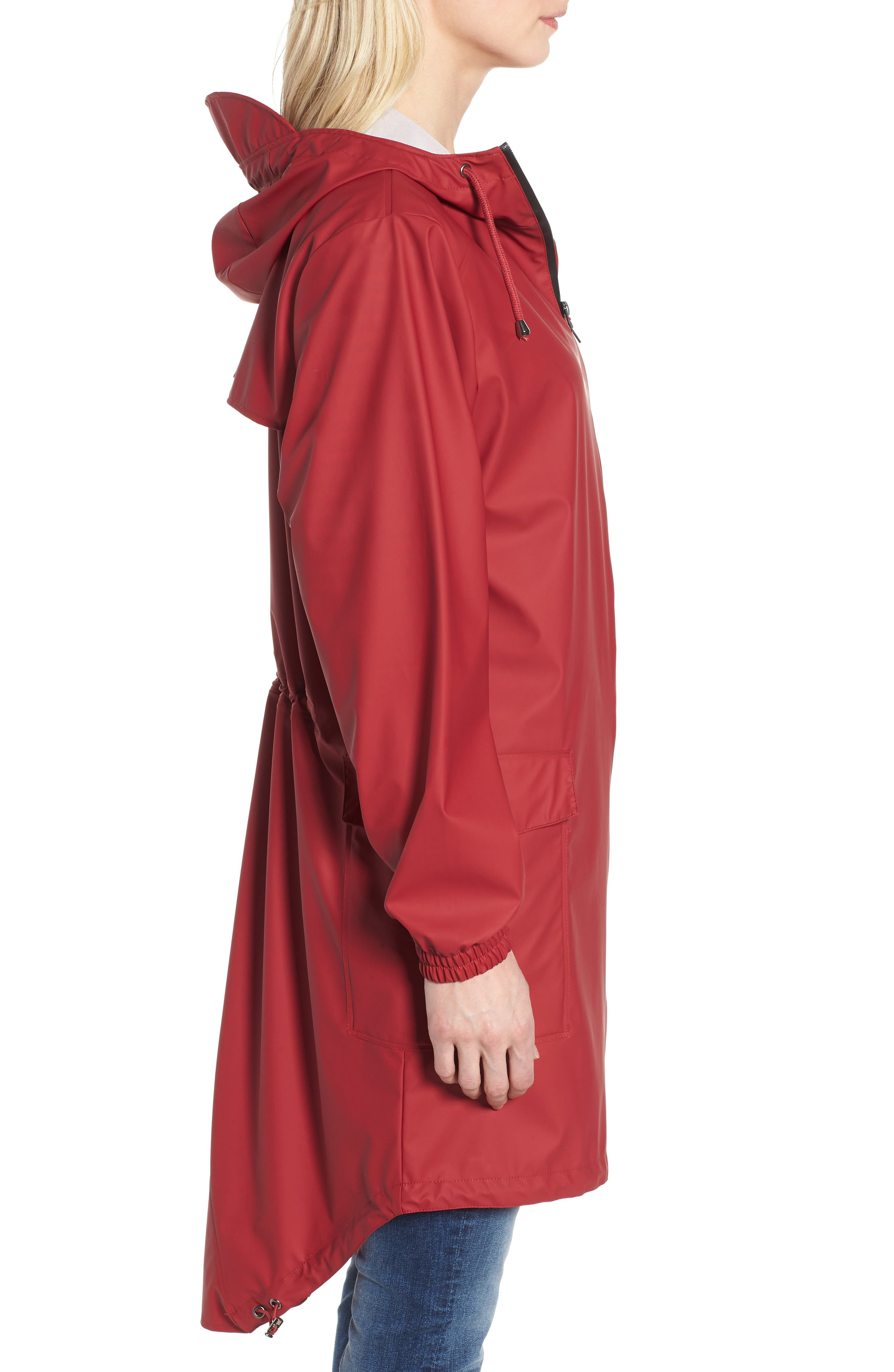 Hooded Rain Topper Jacket,                             Alternate thumbnail 3, color,                             RED