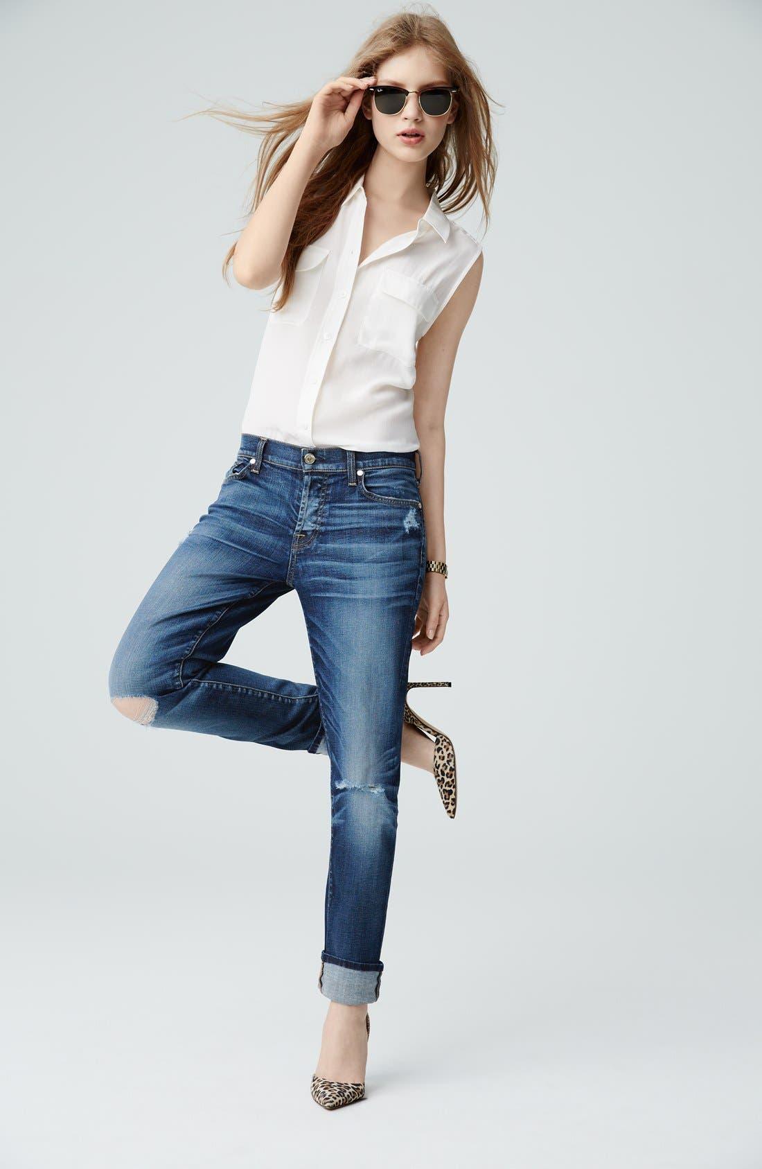 'Slim Signature' Sleeveless Silk Shirt,                         Main,                         color, 001