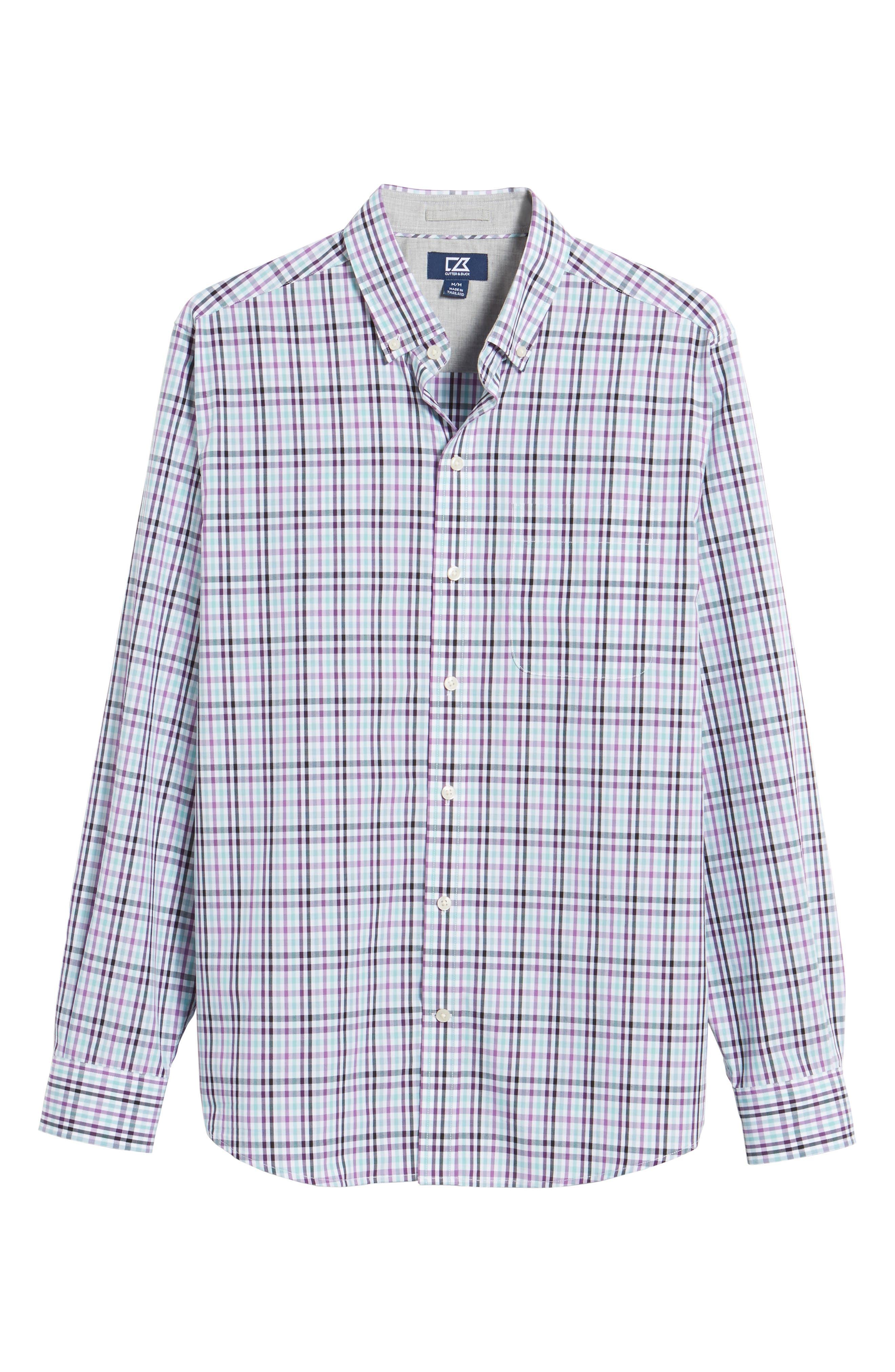 Irving Non-Iron Plaid Sport Shirt,                             Alternate thumbnail 6, color,                             522