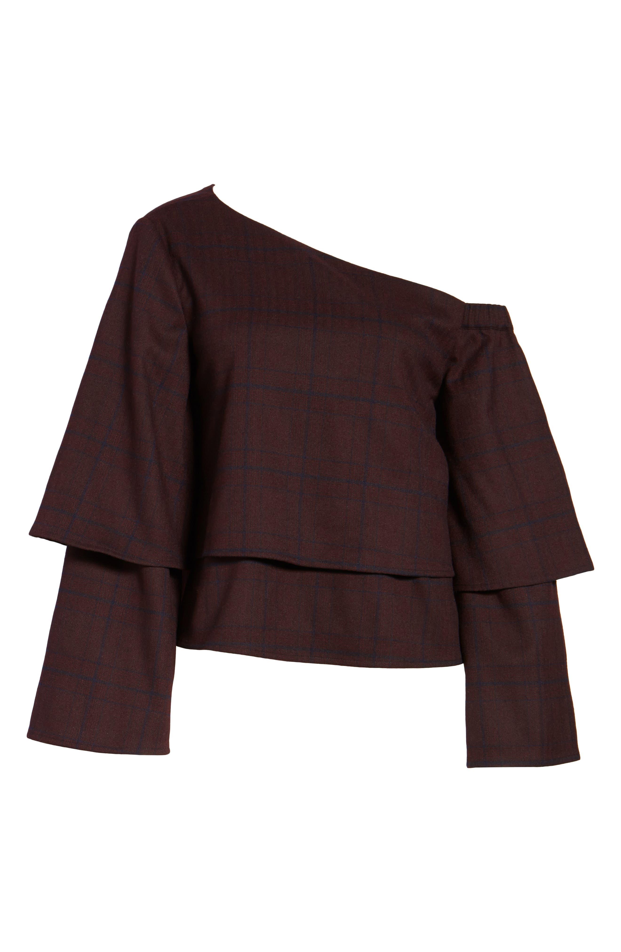 Asymmetric Ruffle Sleeve Top,                             Alternate thumbnail 6, color,                             500