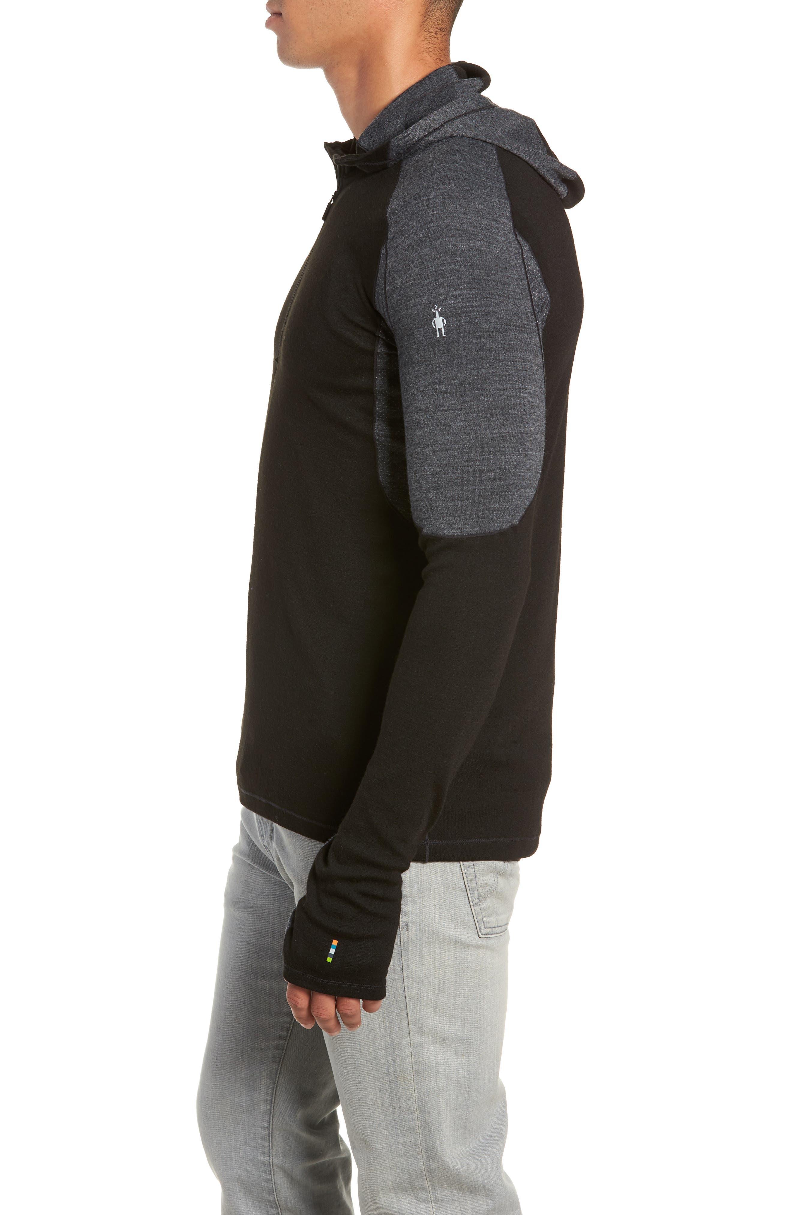 PhD<sup>®</sup> Light Merino Wool Blend Hooded Pullover,                             Alternate thumbnail 3, color,                             BLACK