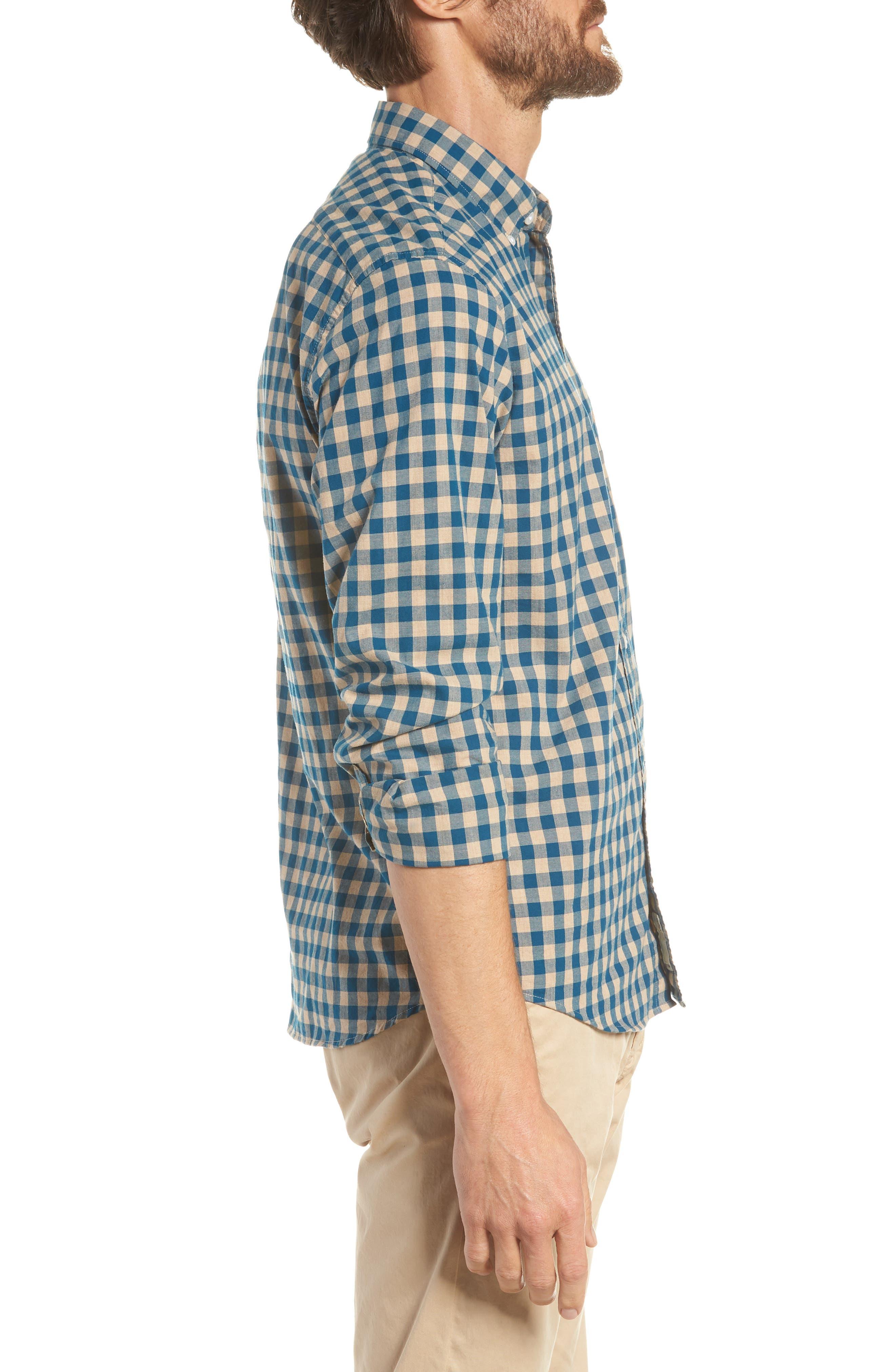 Slim Fit Stretch Secret Wash Heather Gingham Poplin Shirt,                             Alternate thumbnail 8, color,