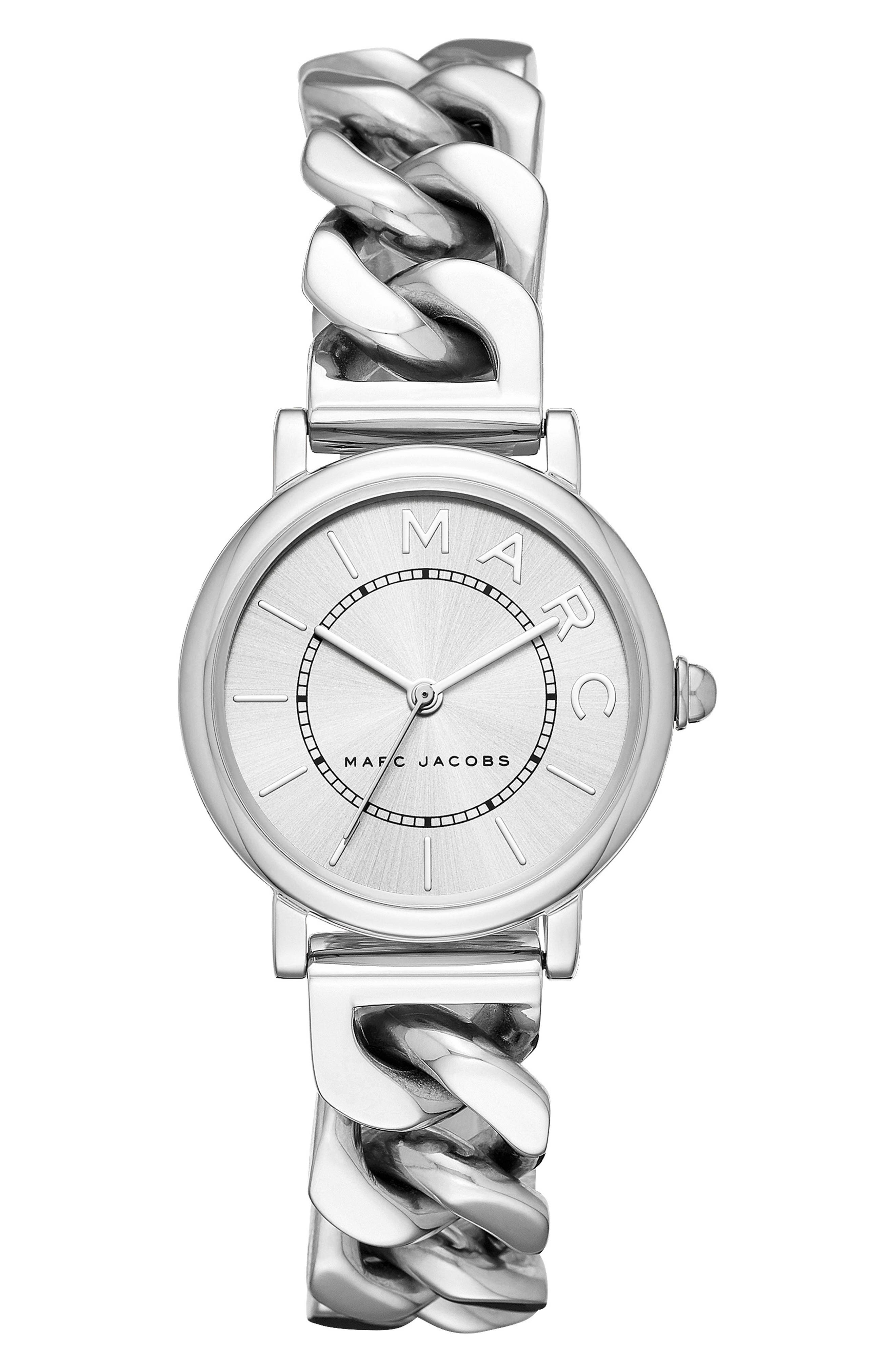 Classic Chain Link Bracelet Watch, 28mm,                         Main,                         color, SILVER/ WHITE/ SILVER
