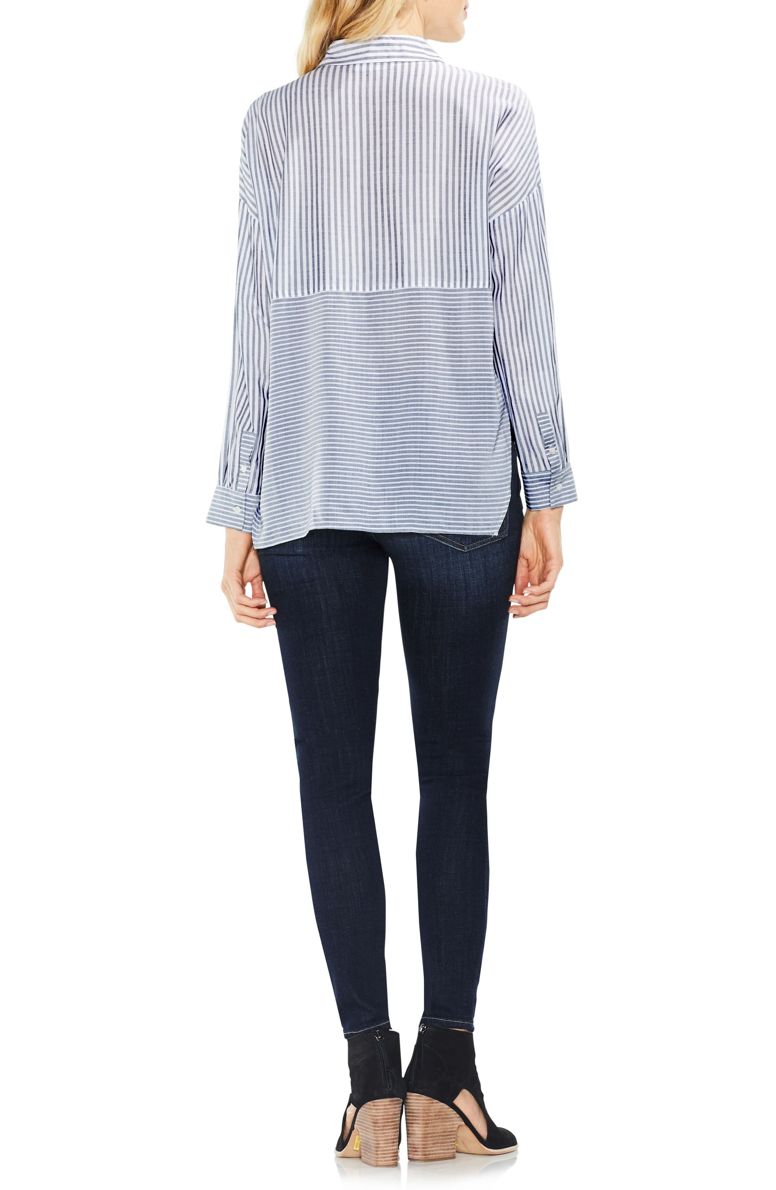 Two by Vince Camuto Mix Stripe Button Down Shirt,                             Alternate thumbnail 3, color,                             430