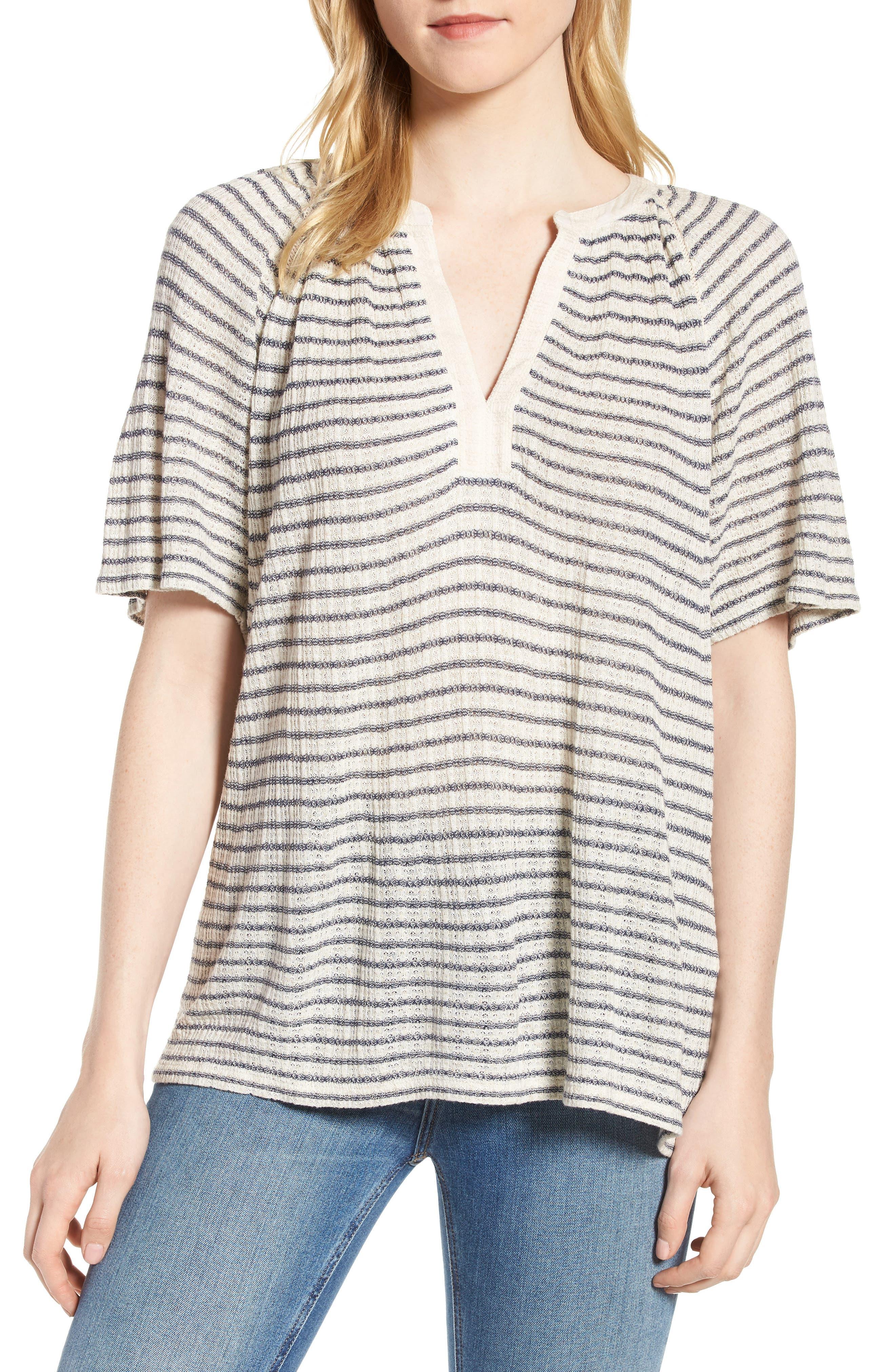 Split Neck Stripe Top,                         Main,                         color, 460