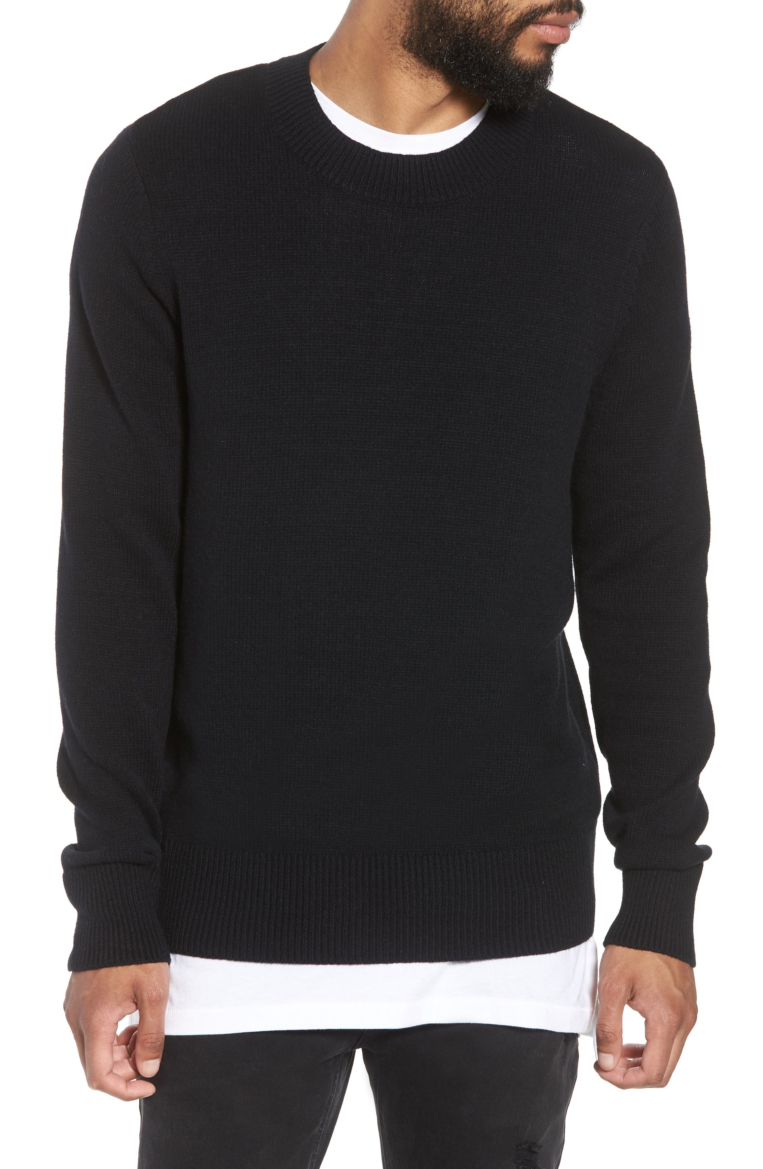 Crewneck Sweater,                         Main,                         color, BLACK ROCK