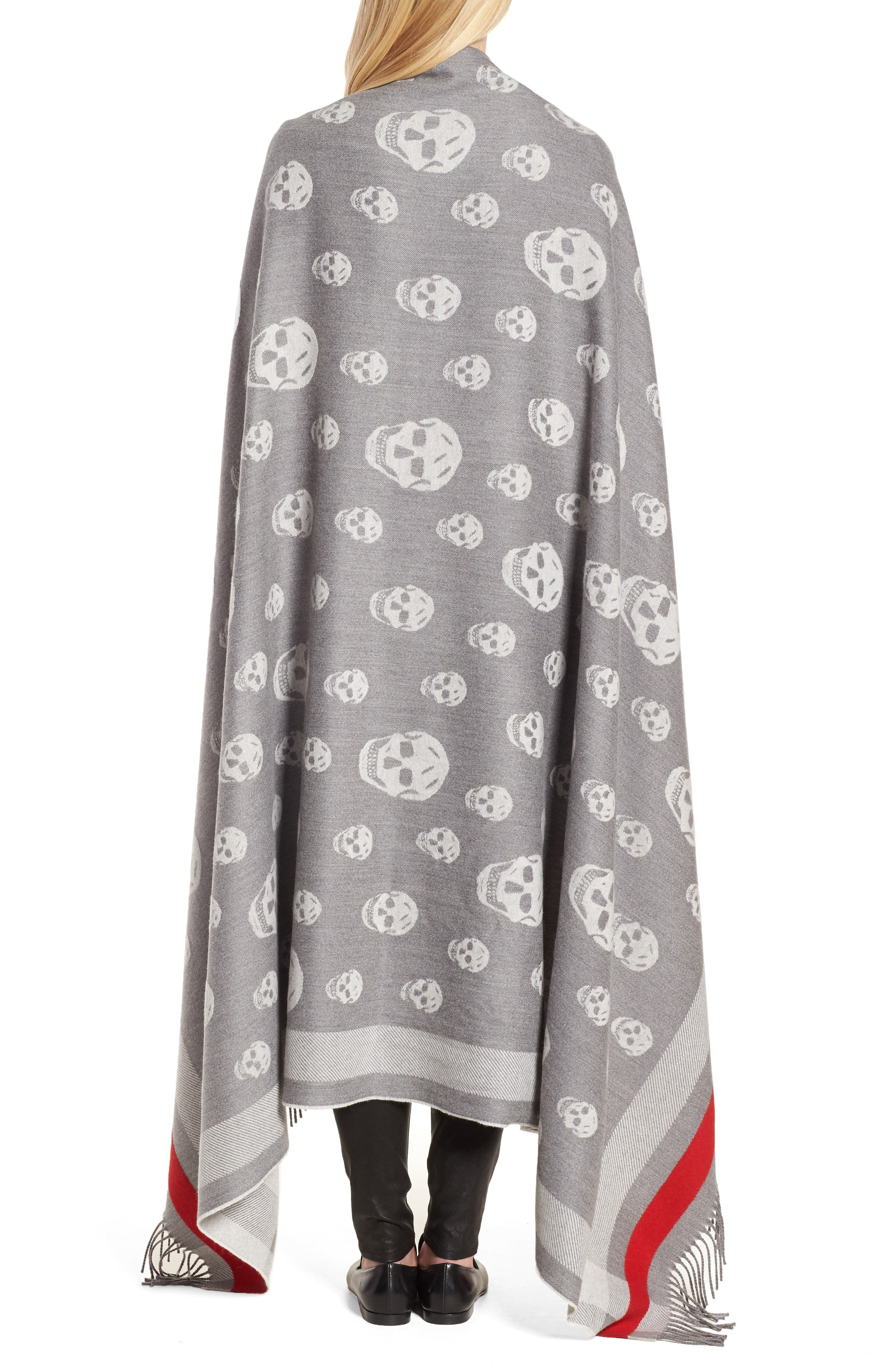 Skull Wool & Cashmere Scarf,                             Alternate thumbnail 2, color,                             020