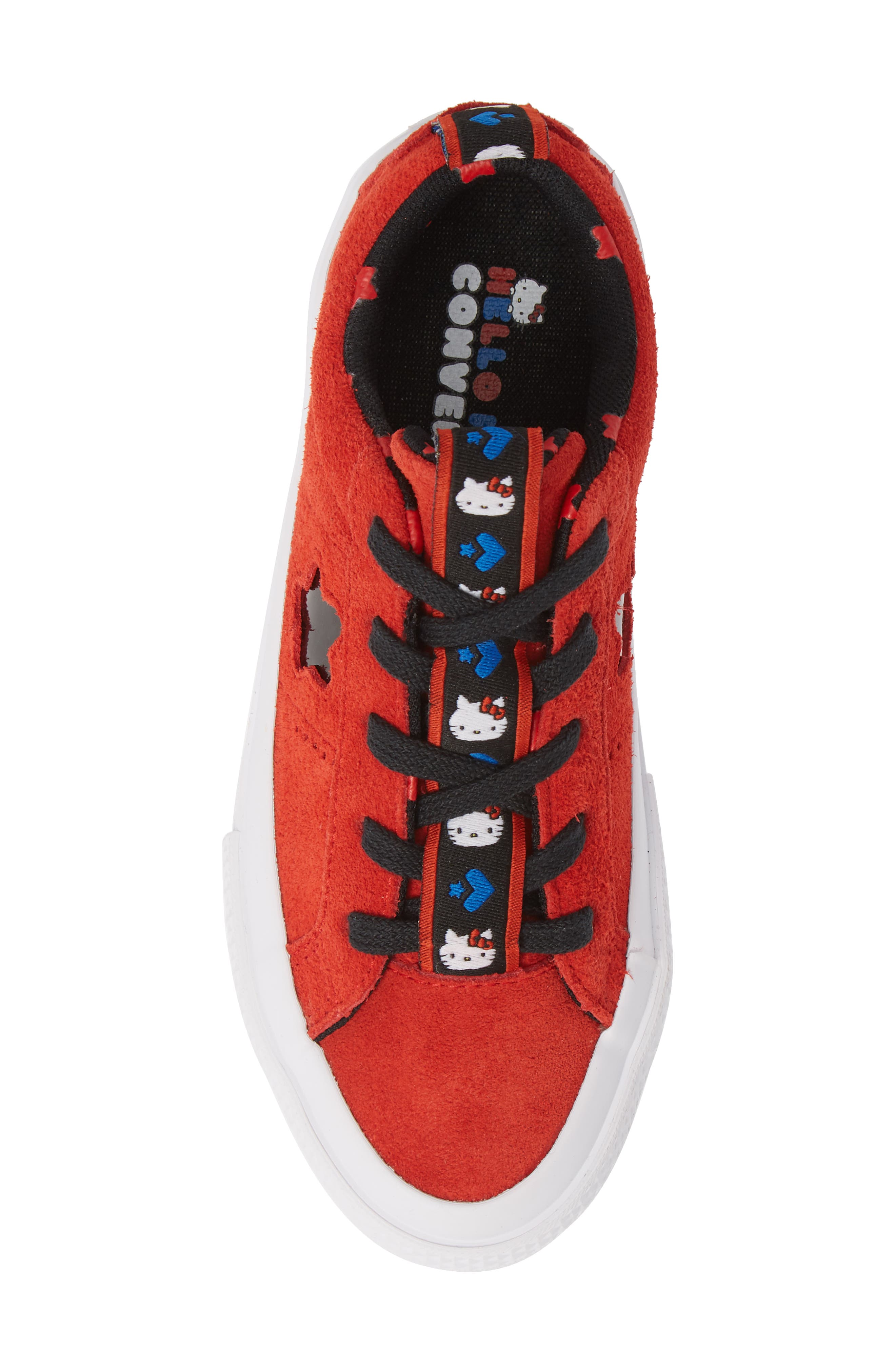 x Hello Kitty<sup>®</sup> One Star Low Top Sneaker,                             Alternate thumbnail 5, color,                             FIERY RED SUEDE