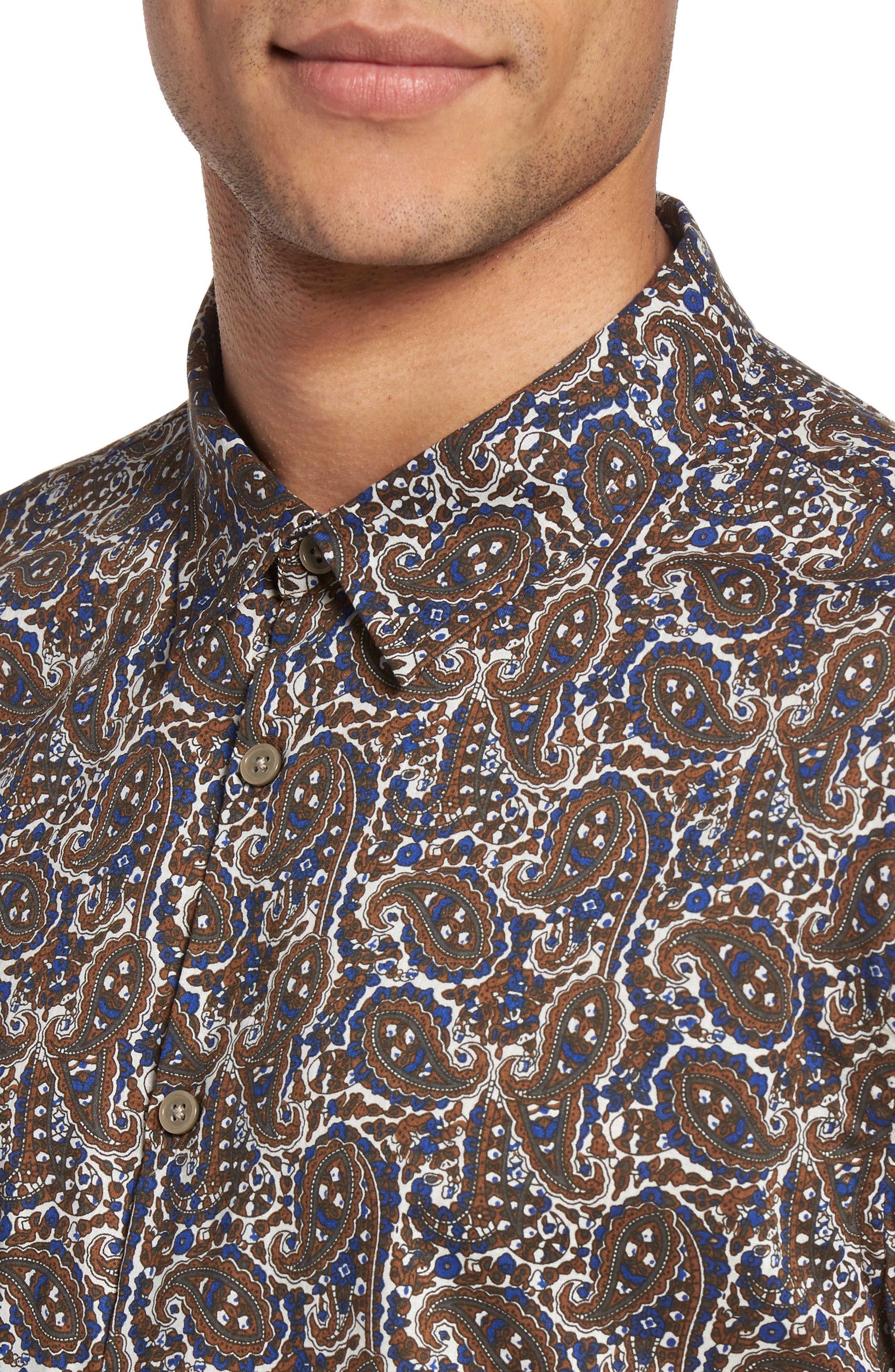 Paisley Trim Fit Sport Shirt,                             Alternate thumbnail 4, color,                             204