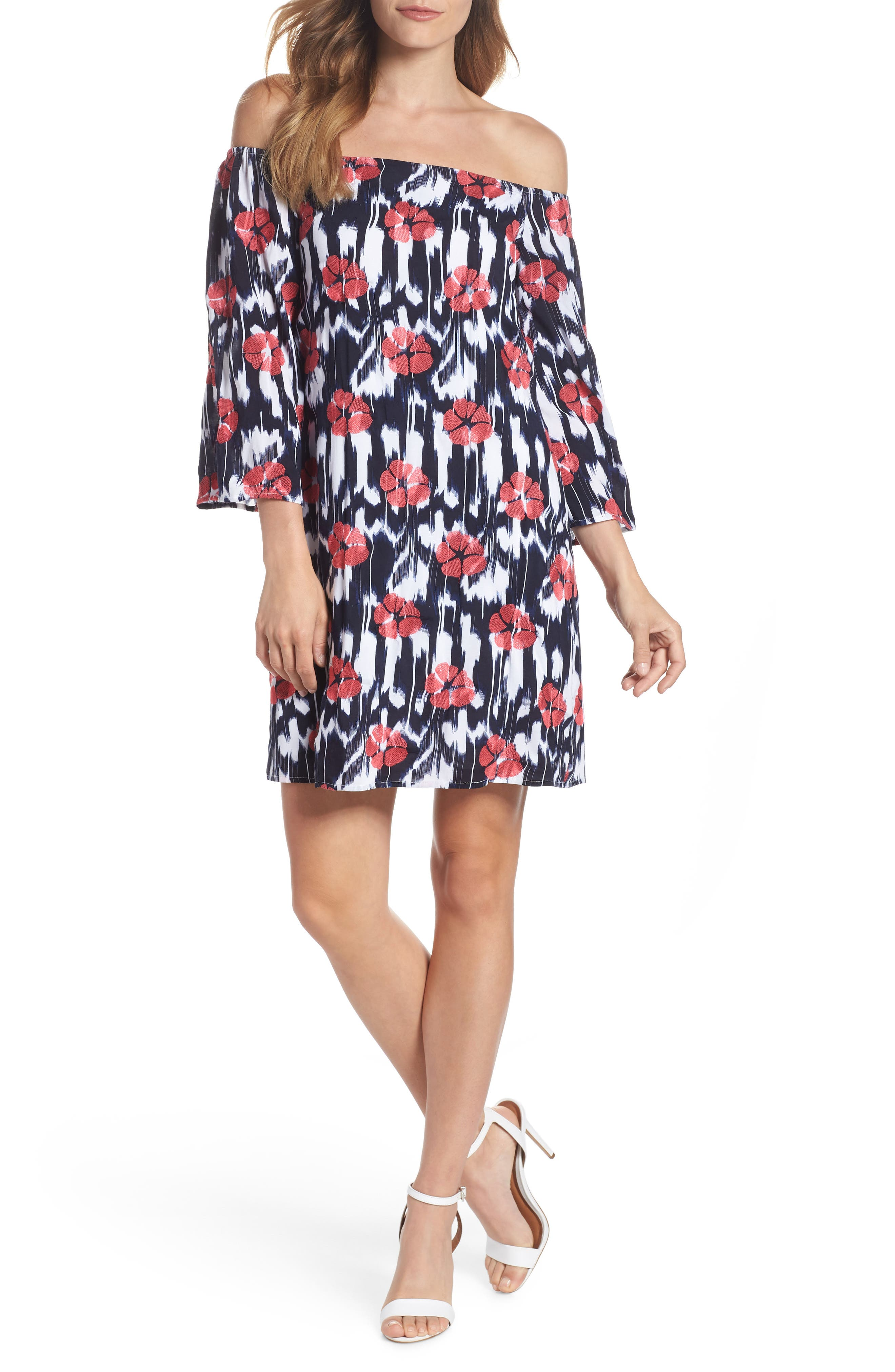 TRINA TRINA TURK,                             Kenwood Off the Shoulder Shift Dress,                             Main thumbnail 1, color,                             460