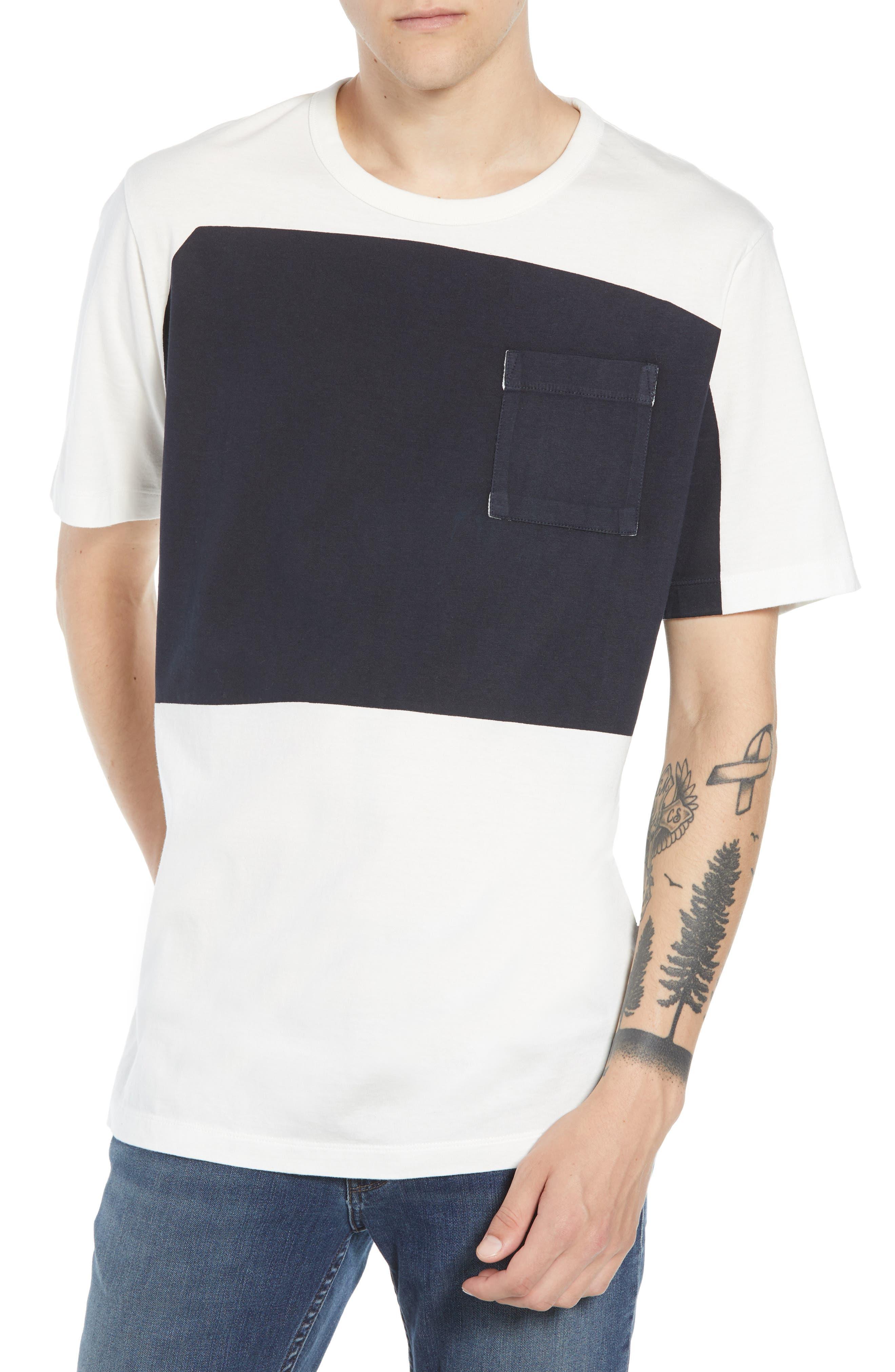 Asymmetrical Colorblock Pocket T-Shirt,                         Main,                         color, CUBA WHITE UTILITY BLUE