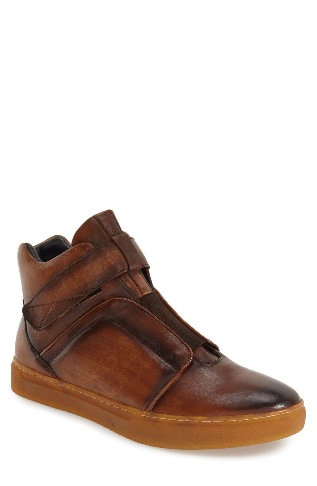 Scully High Top Sneaker,                             Main thumbnail 1, color,                             TAN LEATHER