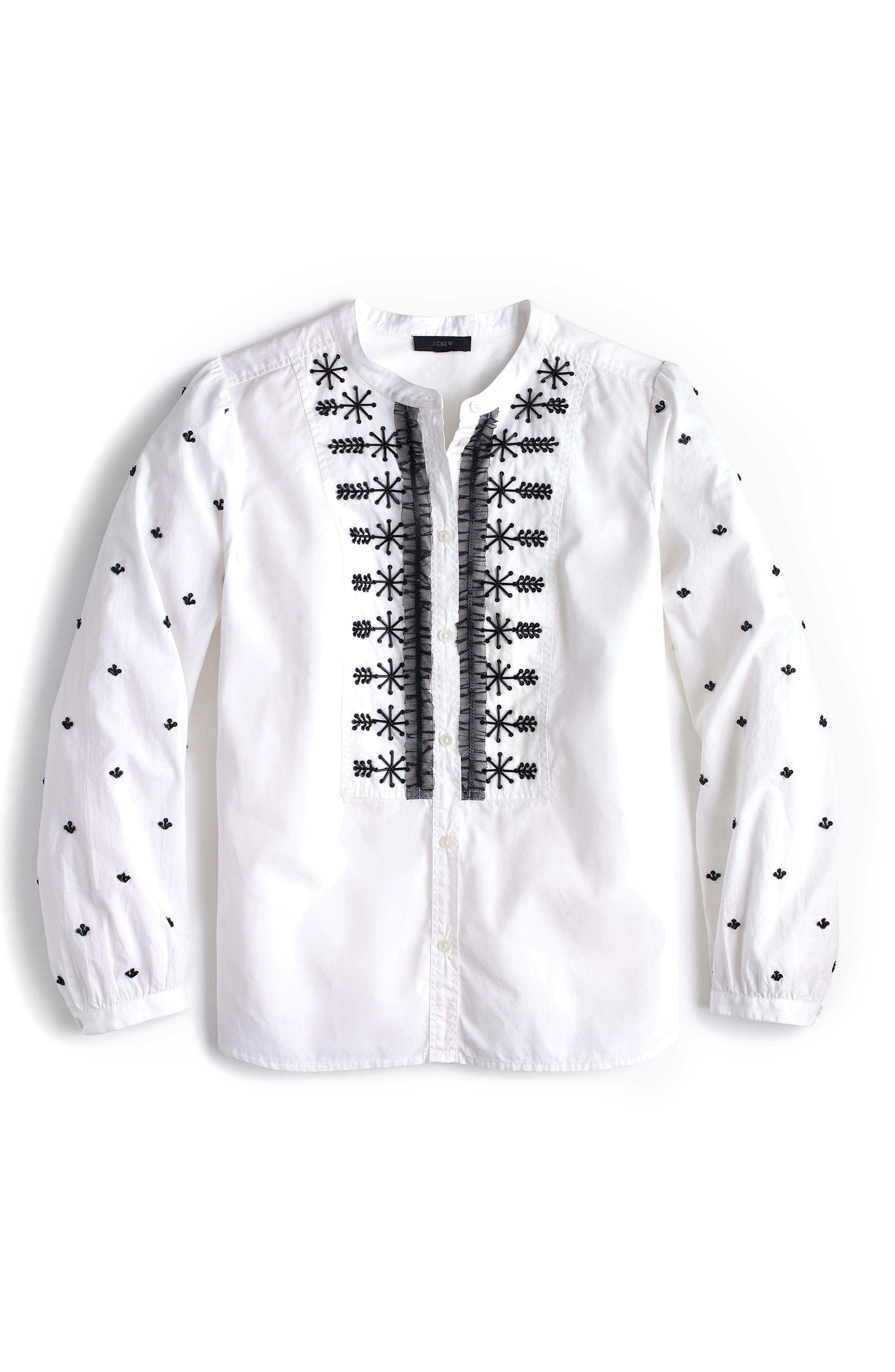 Embellished Button-Up Poplin Shirt,                             Alternate thumbnail 3, color,