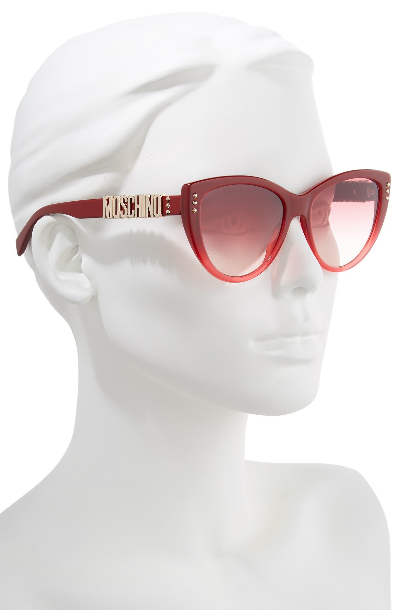 56mm Gradient Cat Eye Sunglasses,                             Alternate thumbnail 2, color,                             RED