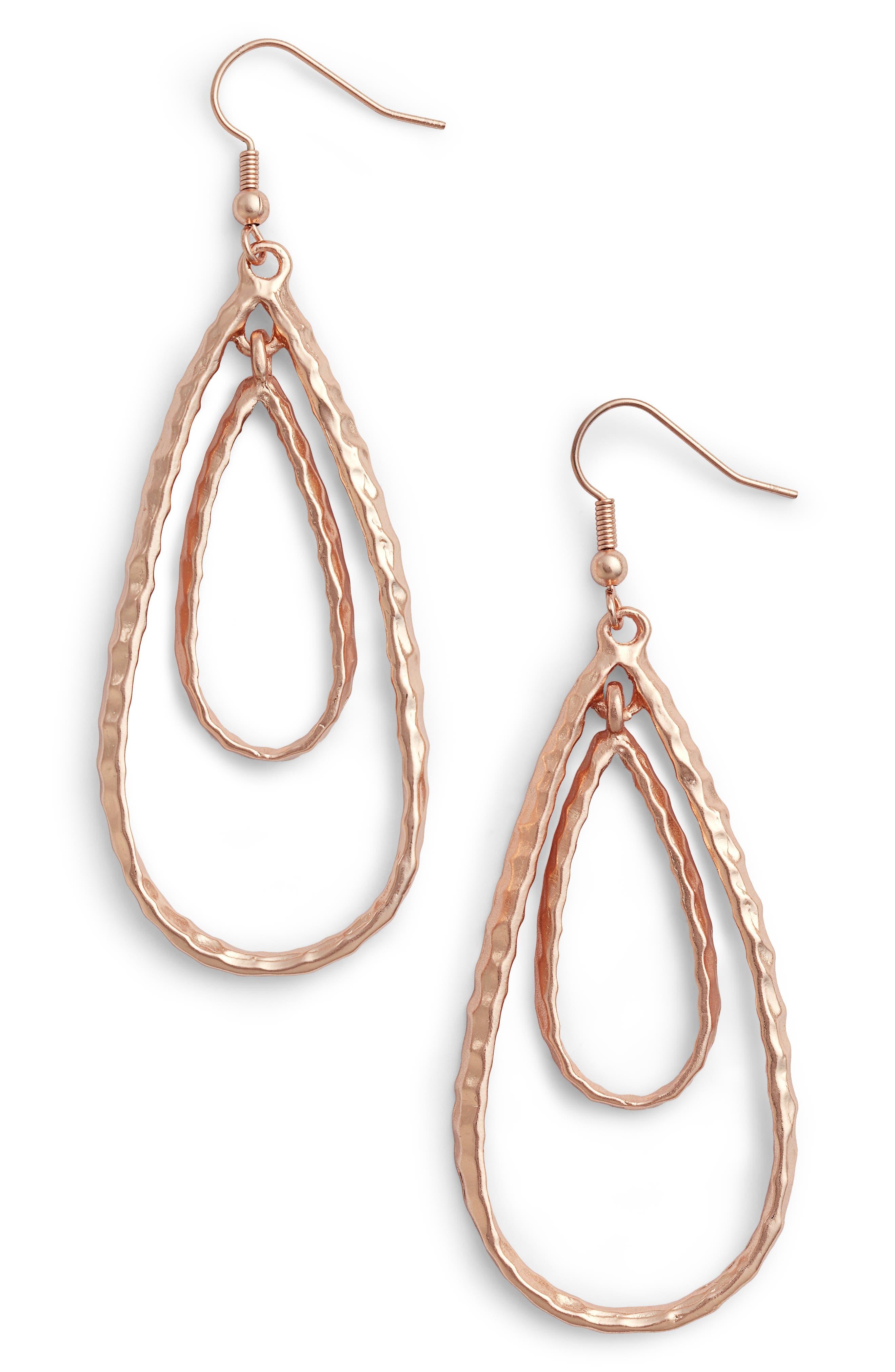 Double Teardrop Link Drop Earrrings,                         Main,                         color, ROSE GOLD