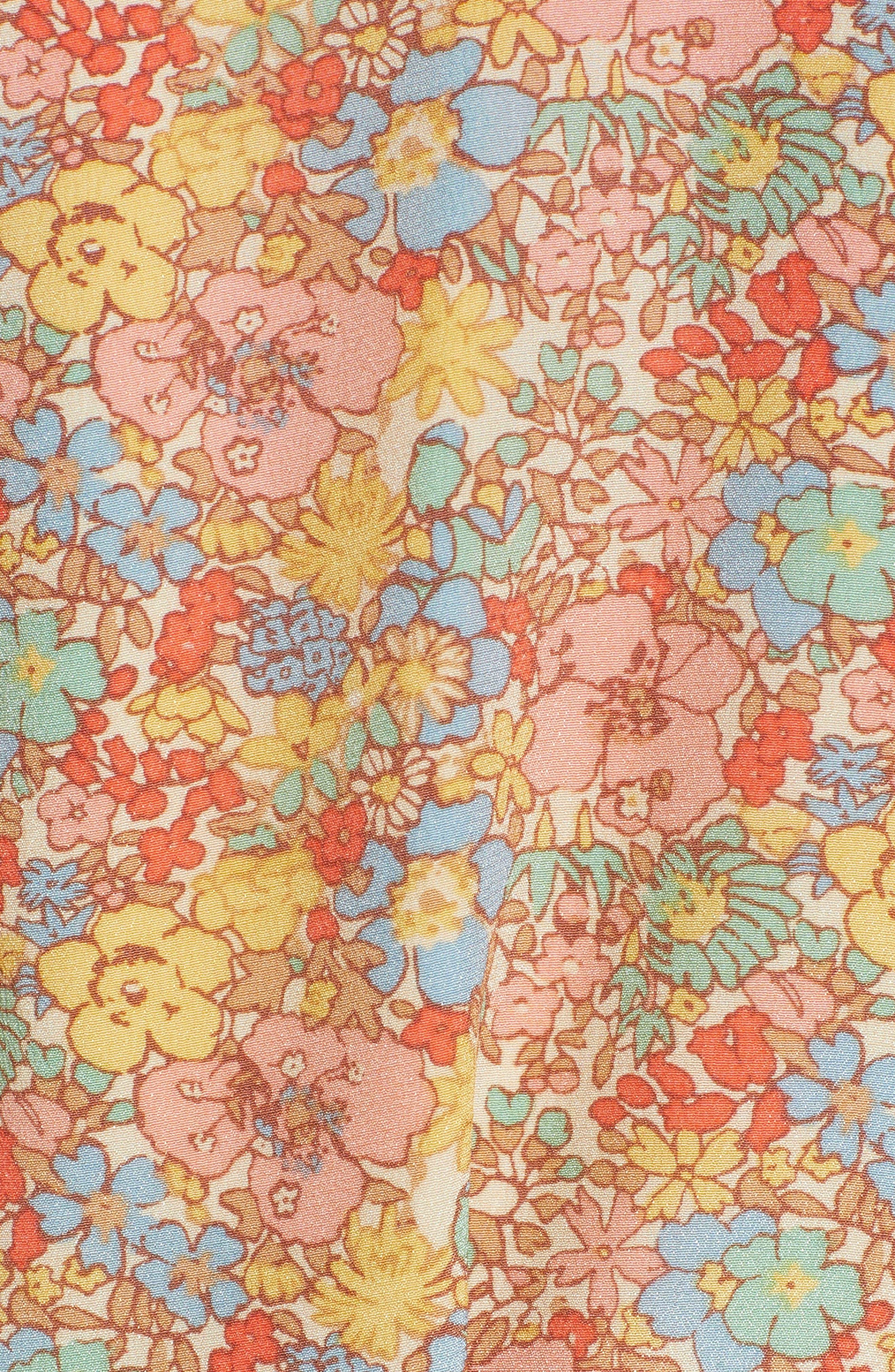 Forsythia Cold Shoulder Silk Dress,                             Alternate thumbnail 5, color,                             650