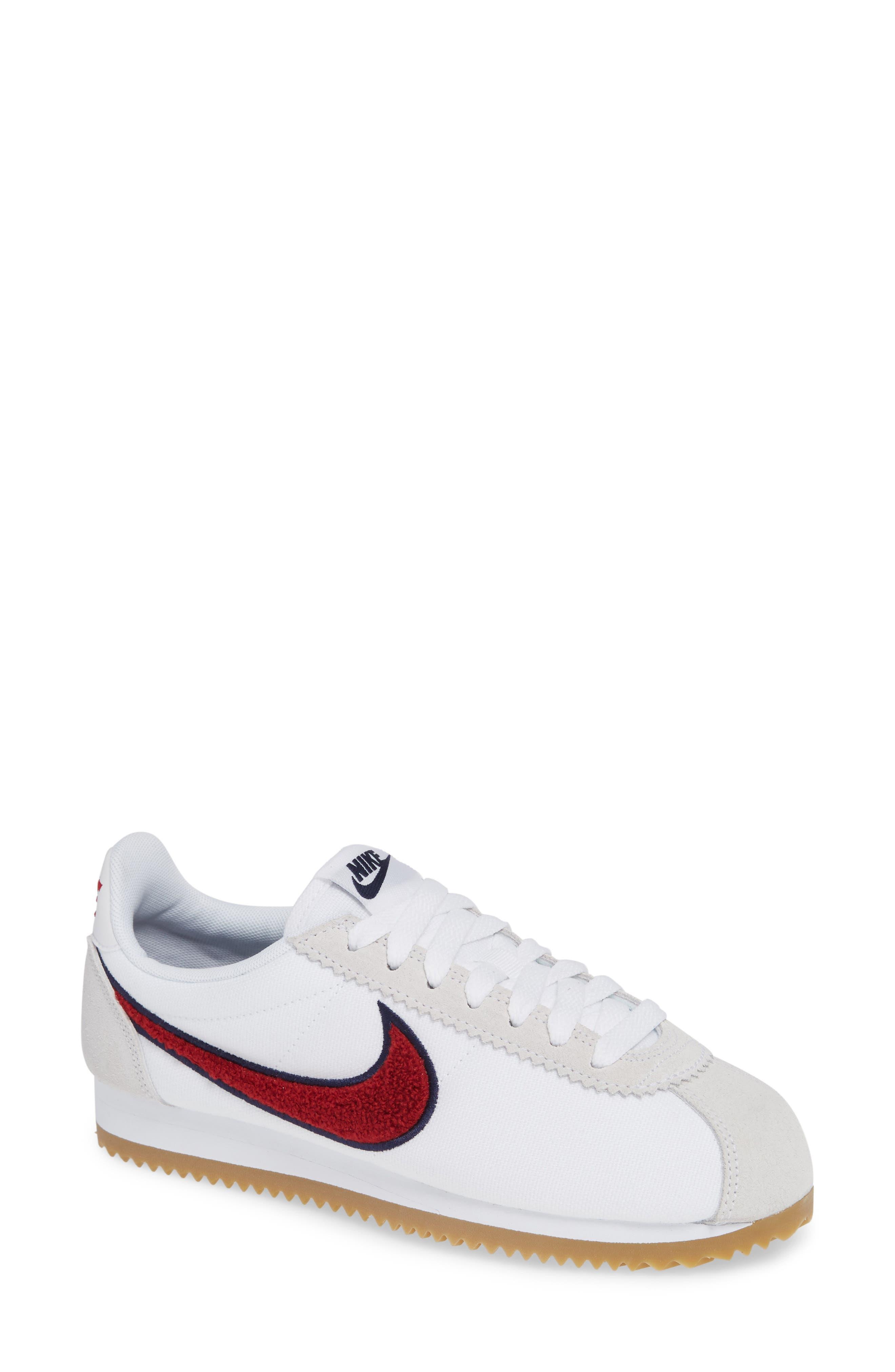 Classic Cortez Premium XLV Sneaker,                             Main thumbnail 1, color,                             WHITE/ RED CRUSH/ LIGHT BROWN