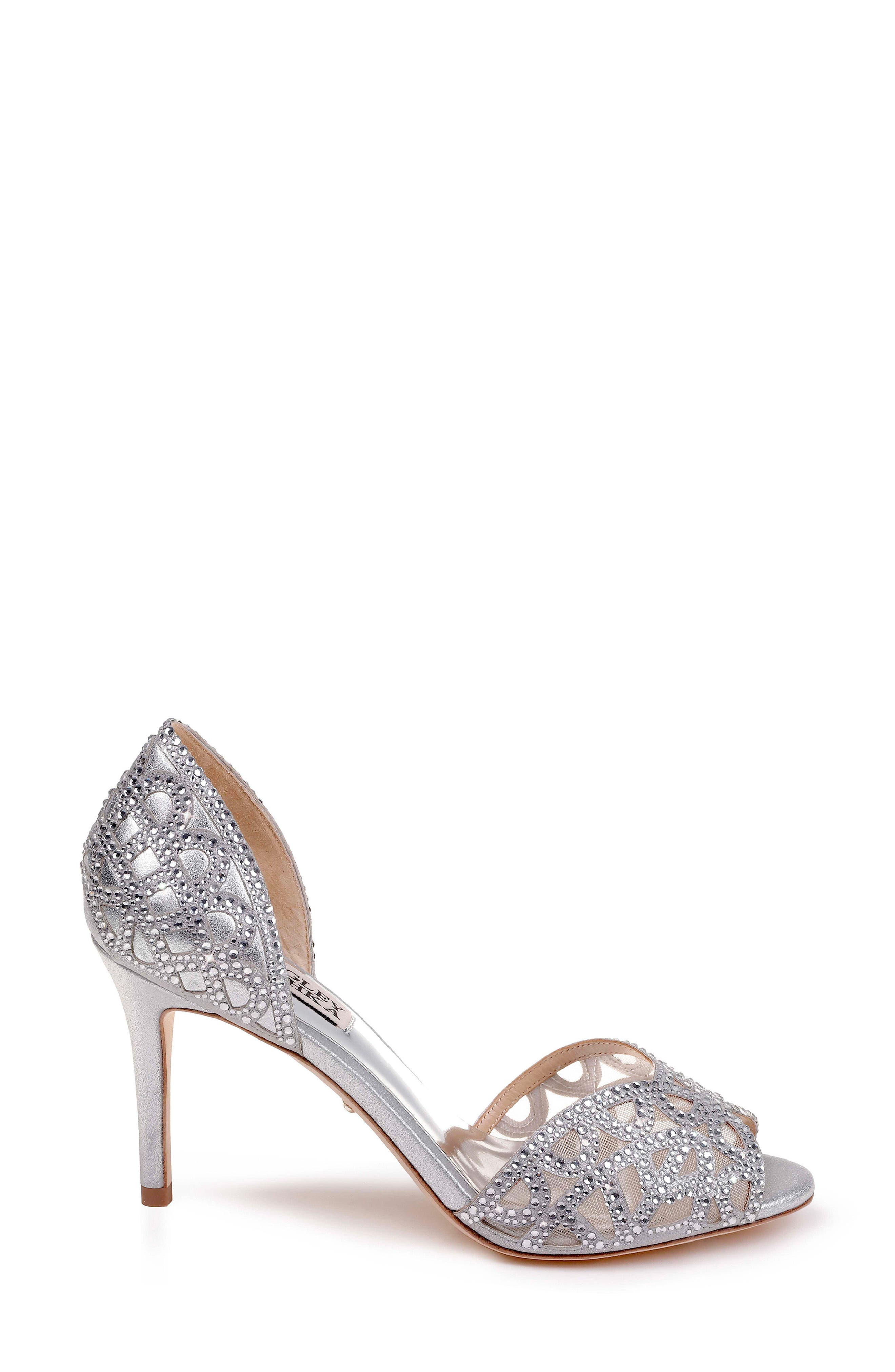 Harris Peep Toe Pump,                             Alternate thumbnail 3, color,                             SILVER METALLIC SUEDE