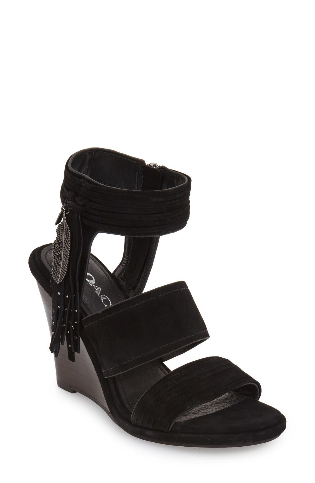 COACH 'Delaney' Fringed Wedge Sandal, Main, color, 001