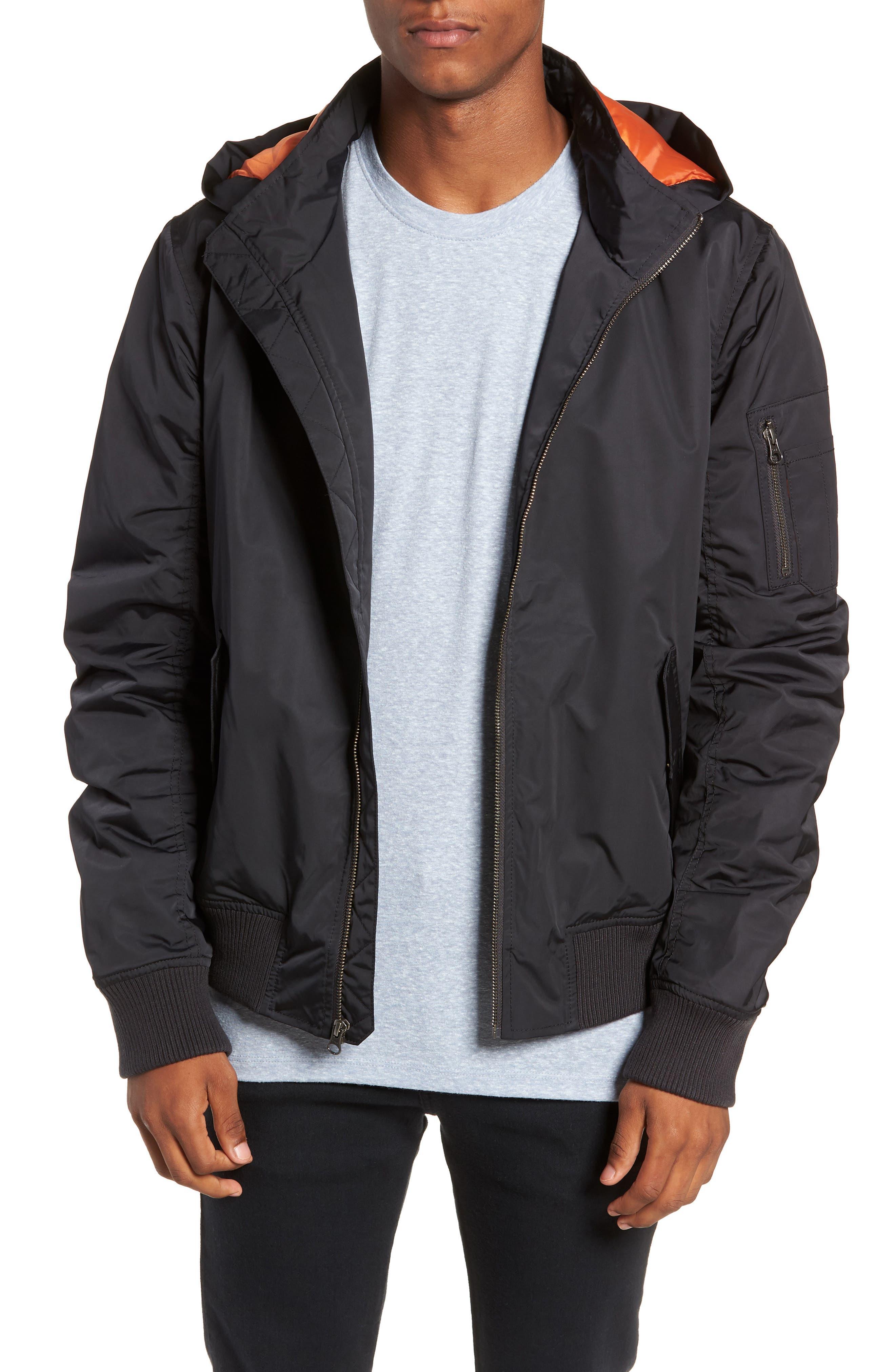 Hooded Nylon Bomber Jacket,                         Main,                         color, BLACK ROCK