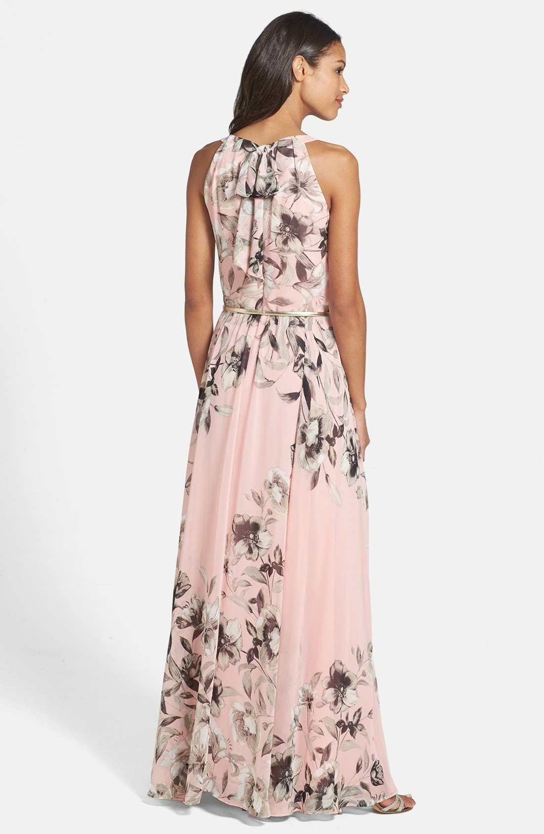 Belted Chiffon Maxi Dress,                             Alternate thumbnail 11, color,                             PINK MULTI