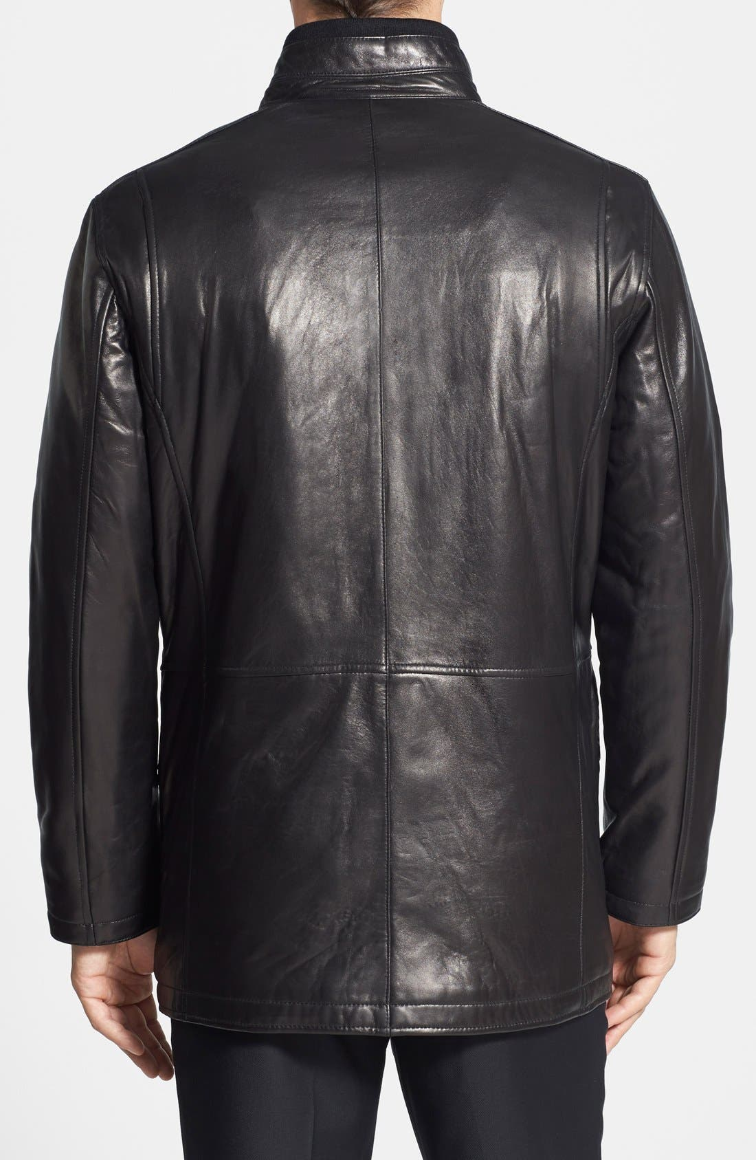 Lambskin Leather Car Coat,                             Alternate thumbnail 2, color,                             001