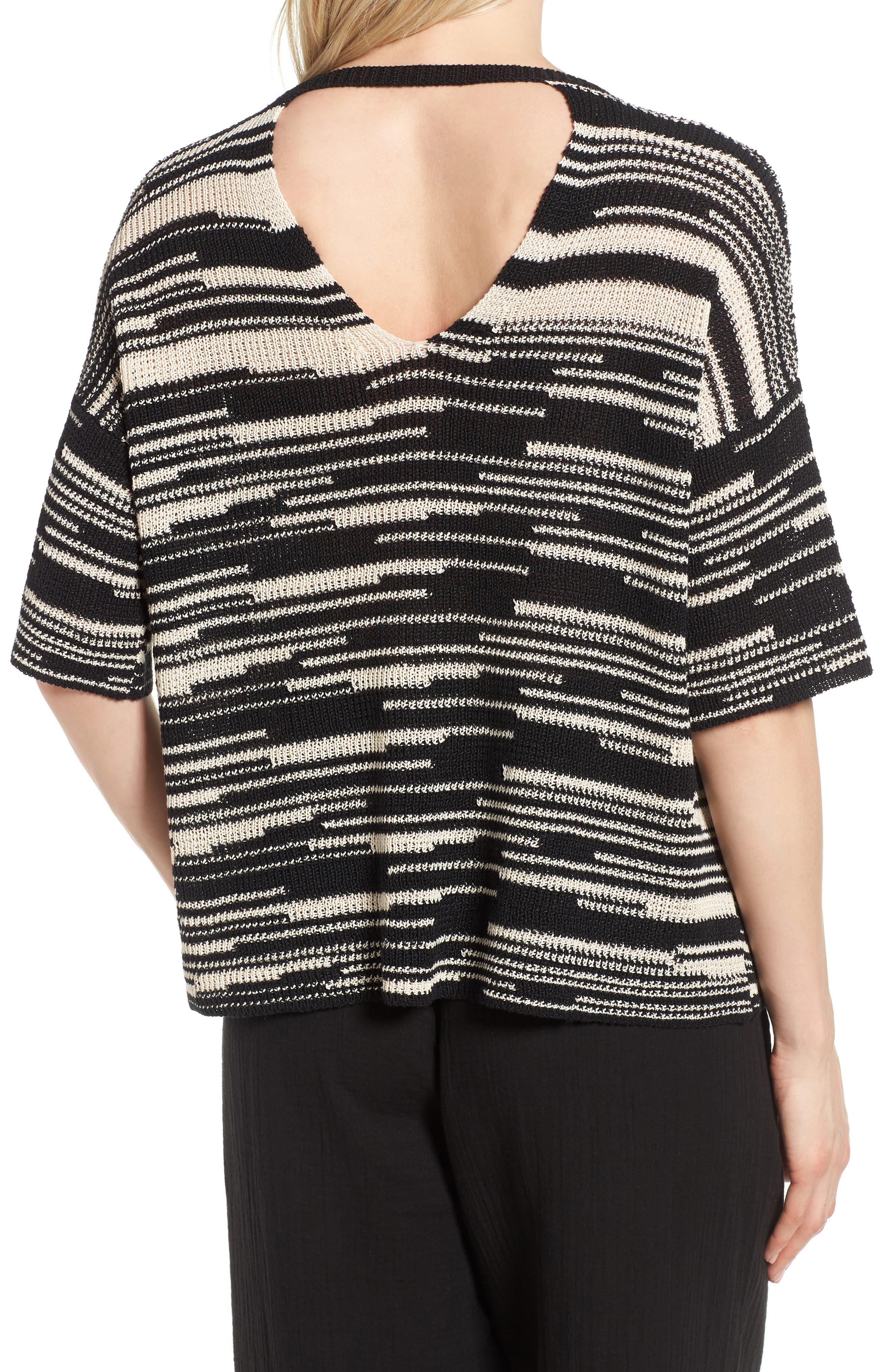 Stripe Organic Linen & Cotton Sweater,                             Alternate thumbnail 2, color,