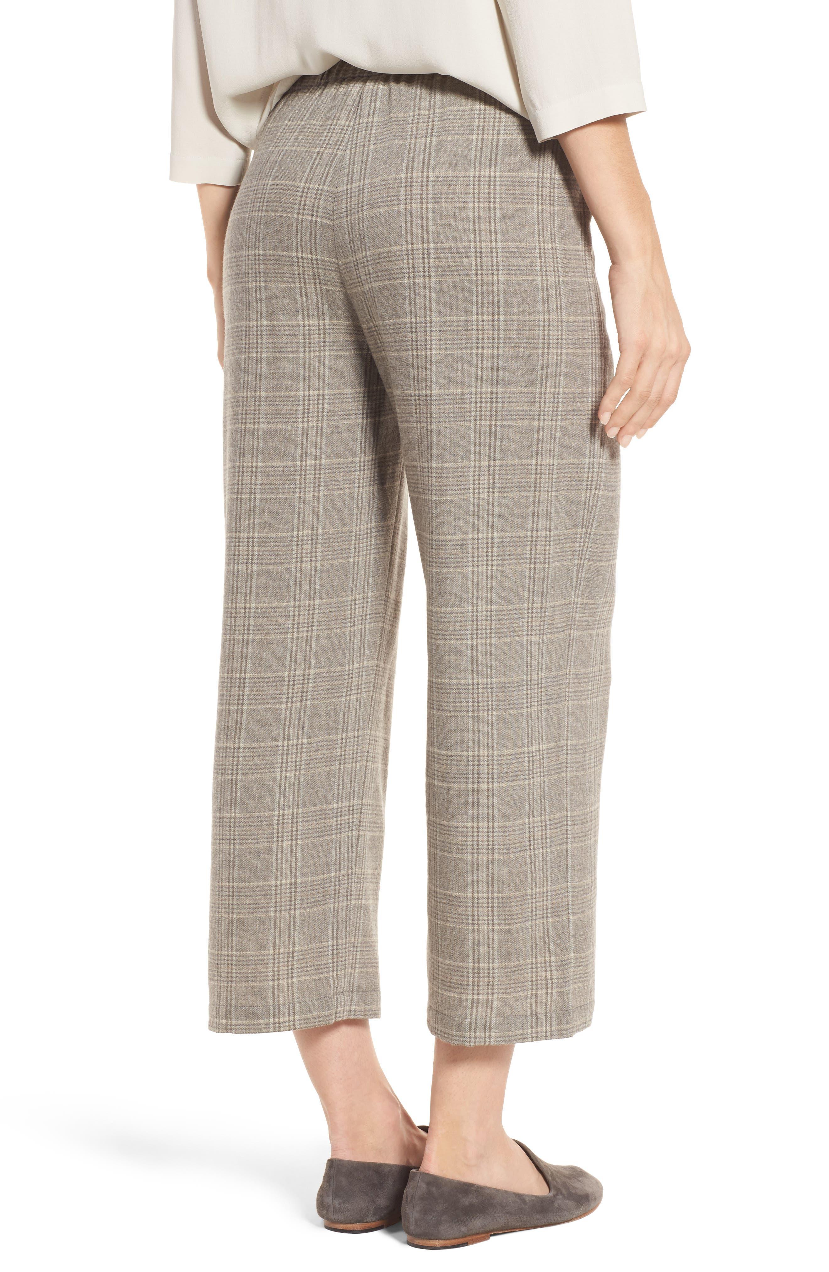 Plaid Wide Leg Crop Pants,                             Alternate thumbnail 2, color,                             542