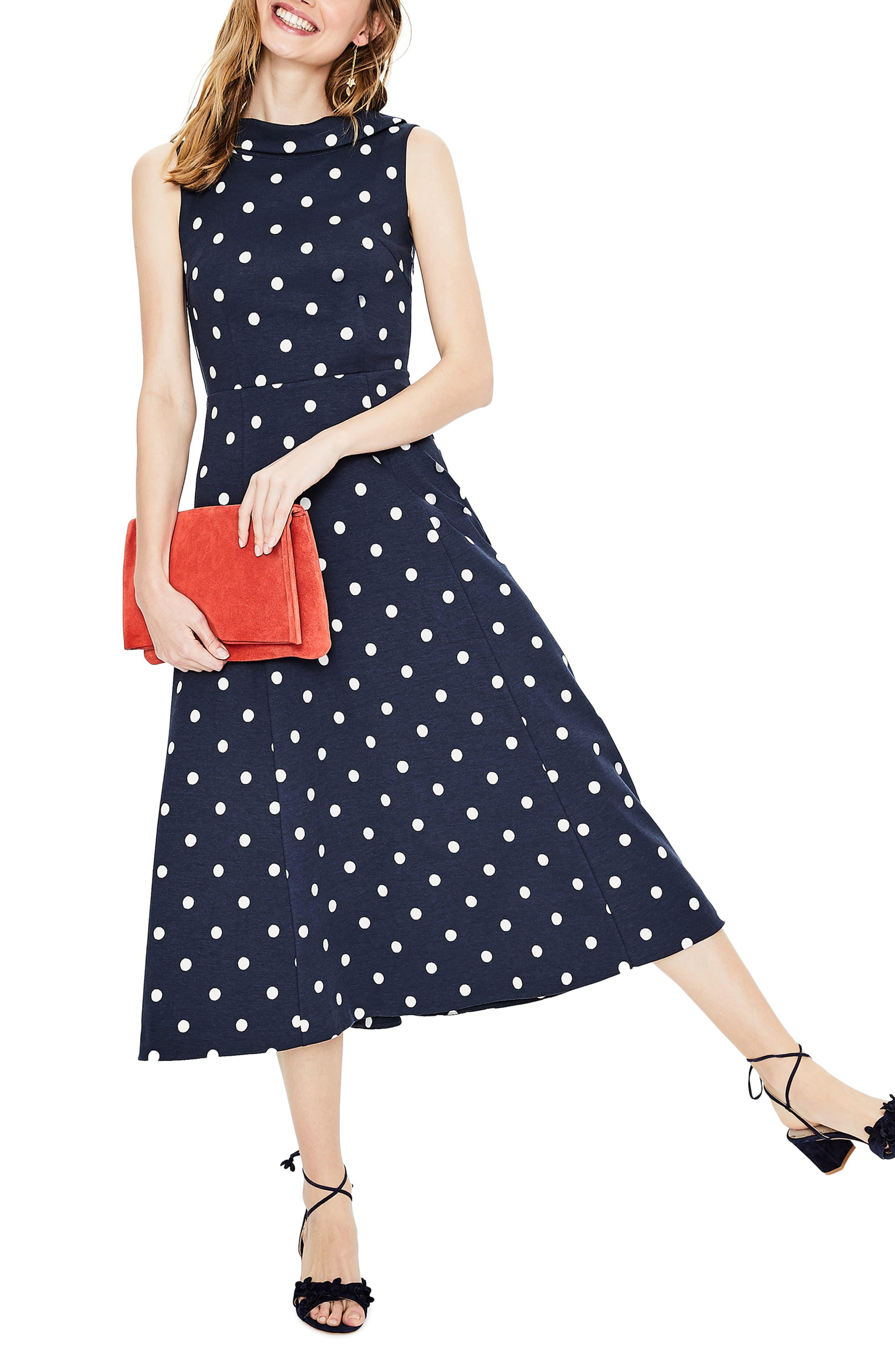 Polka Dot Dresses: 20s, 30s, 40s, 50s, 60s Womens Boden Aria Ponte Midi Dress Size 14 - Blue $170.00 AT vintagedancer.com