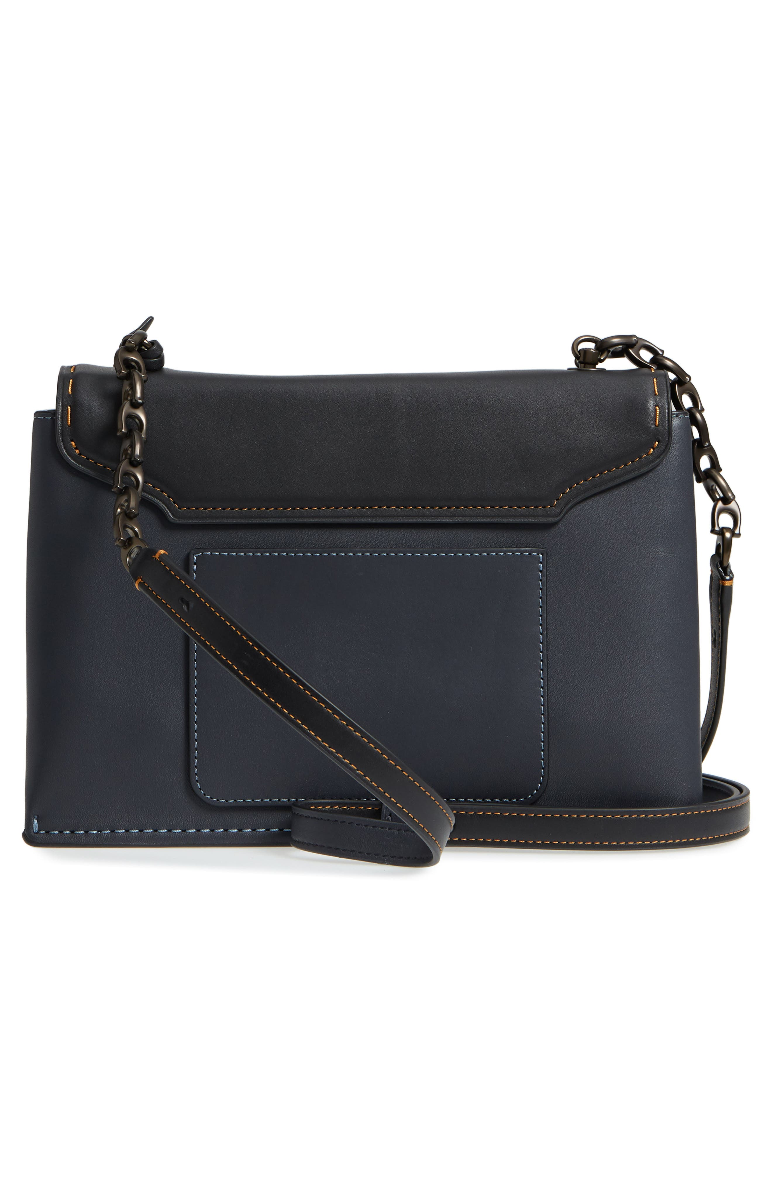 Swagger Chain Leather Crossbody Bag,                             Alternate thumbnail 3, color,                             428