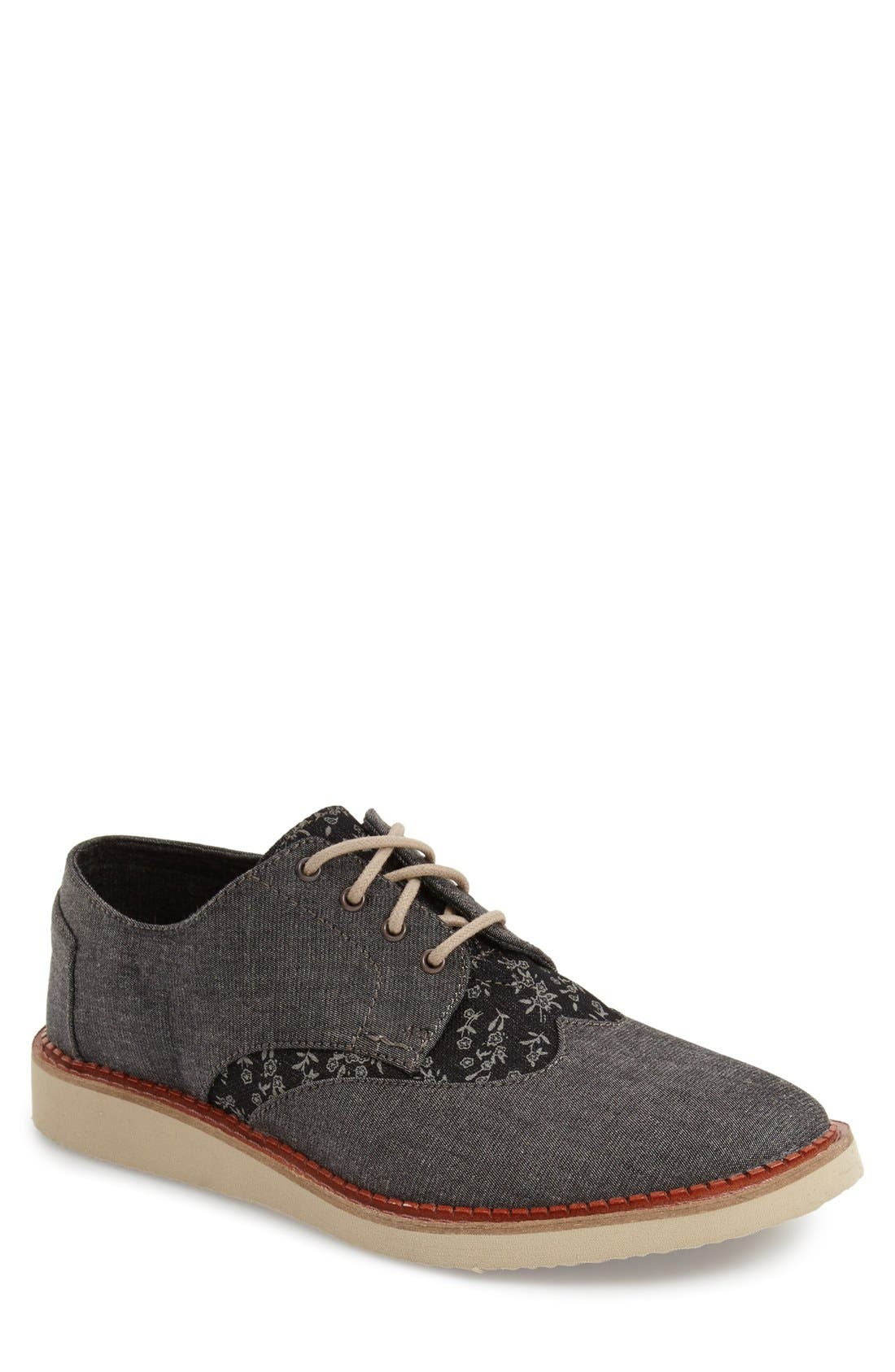 'Classic Brogue' Cotton Twill Derby,                             Main thumbnail 4, color,