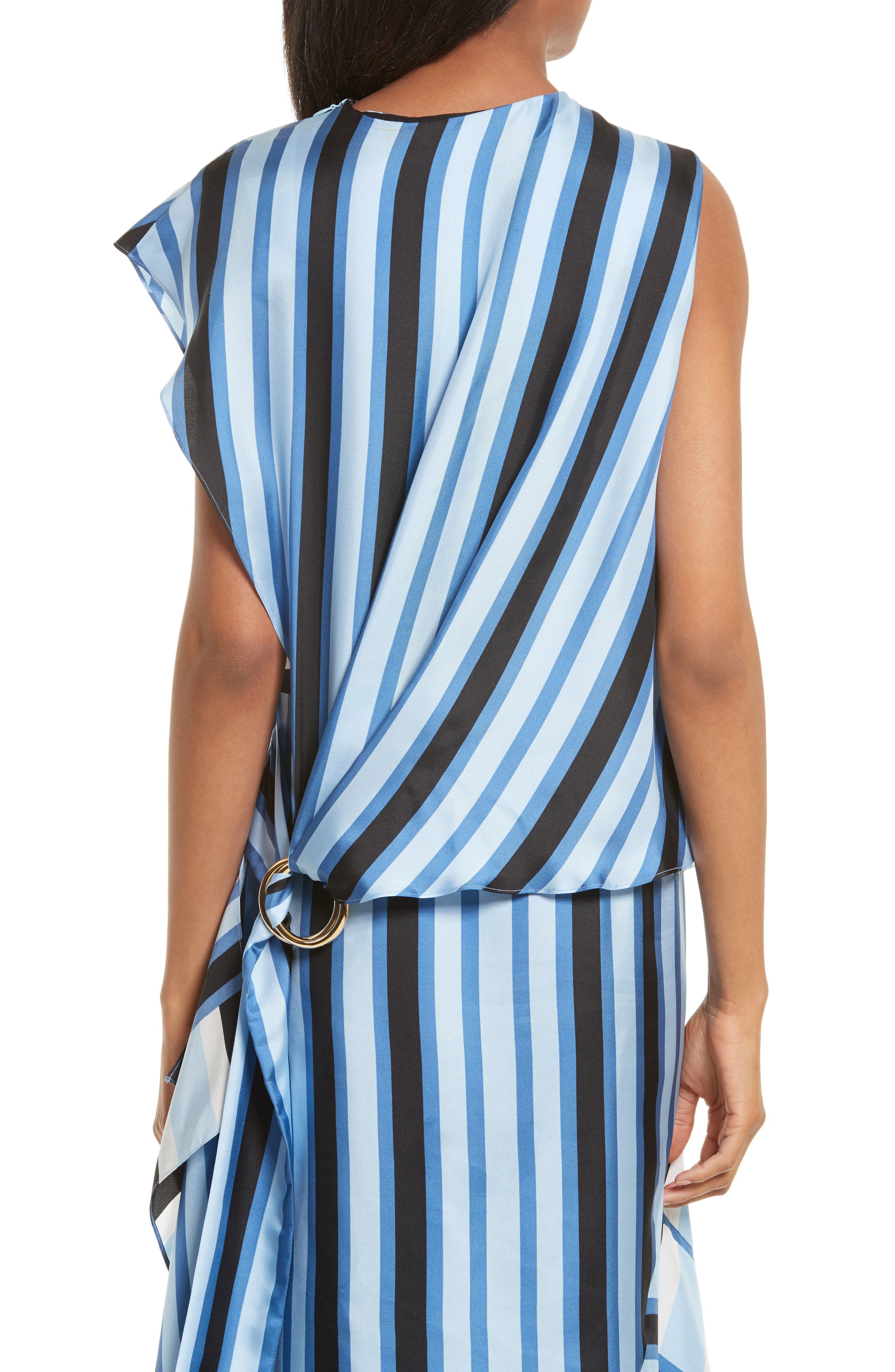 Asymmetrical Stripe Silk Maxi Dress,                             Alternate thumbnail 4, color,                             451