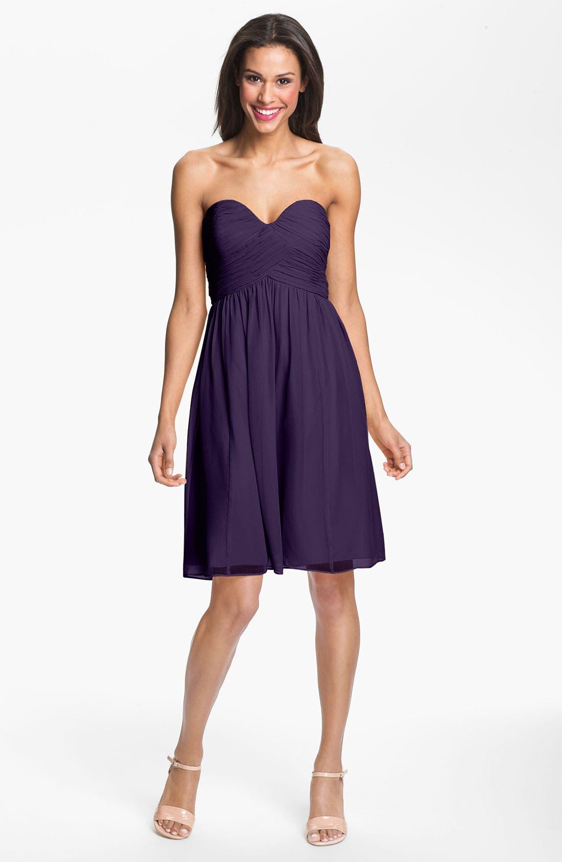 'Morgan' Strapless Silk Chiffon Dress,                             Main thumbnail 23, color,