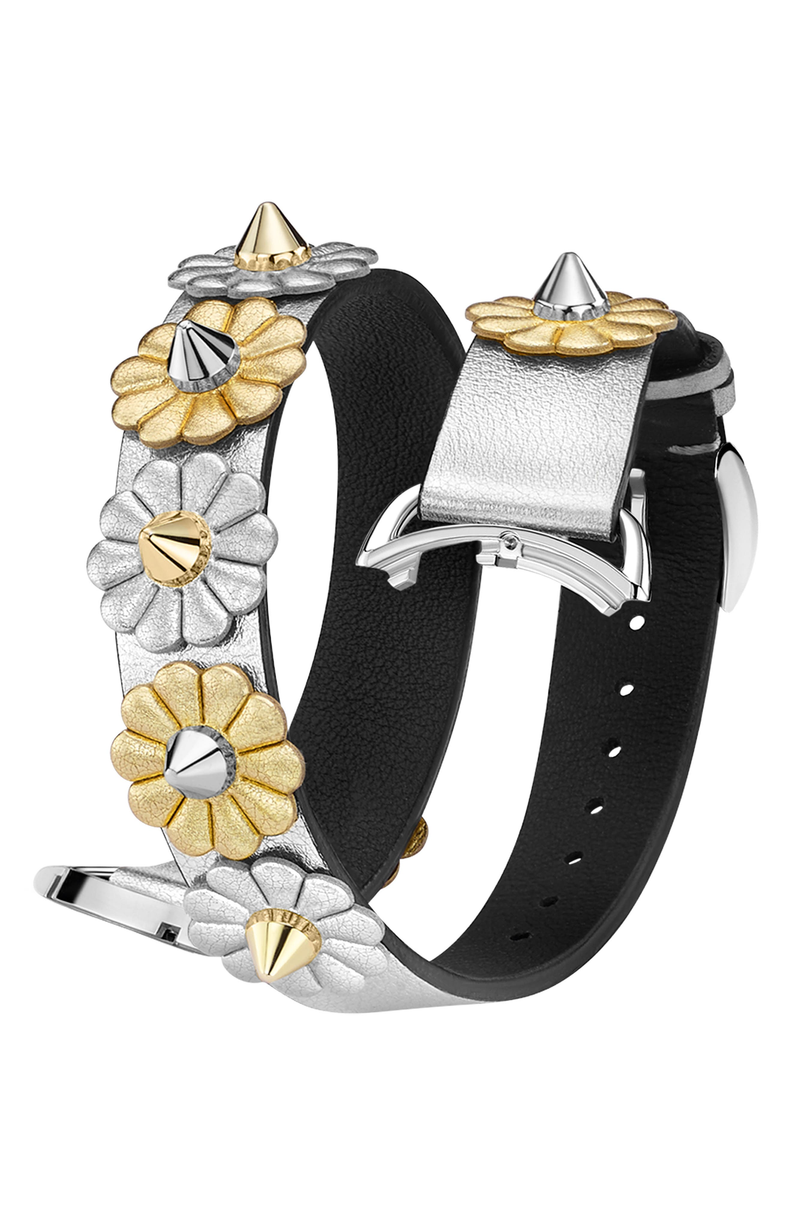Selleria 17mm Embellished Leather Watch Strap,                             Main thumbnail 1, color,                             SILVER/ GOLD