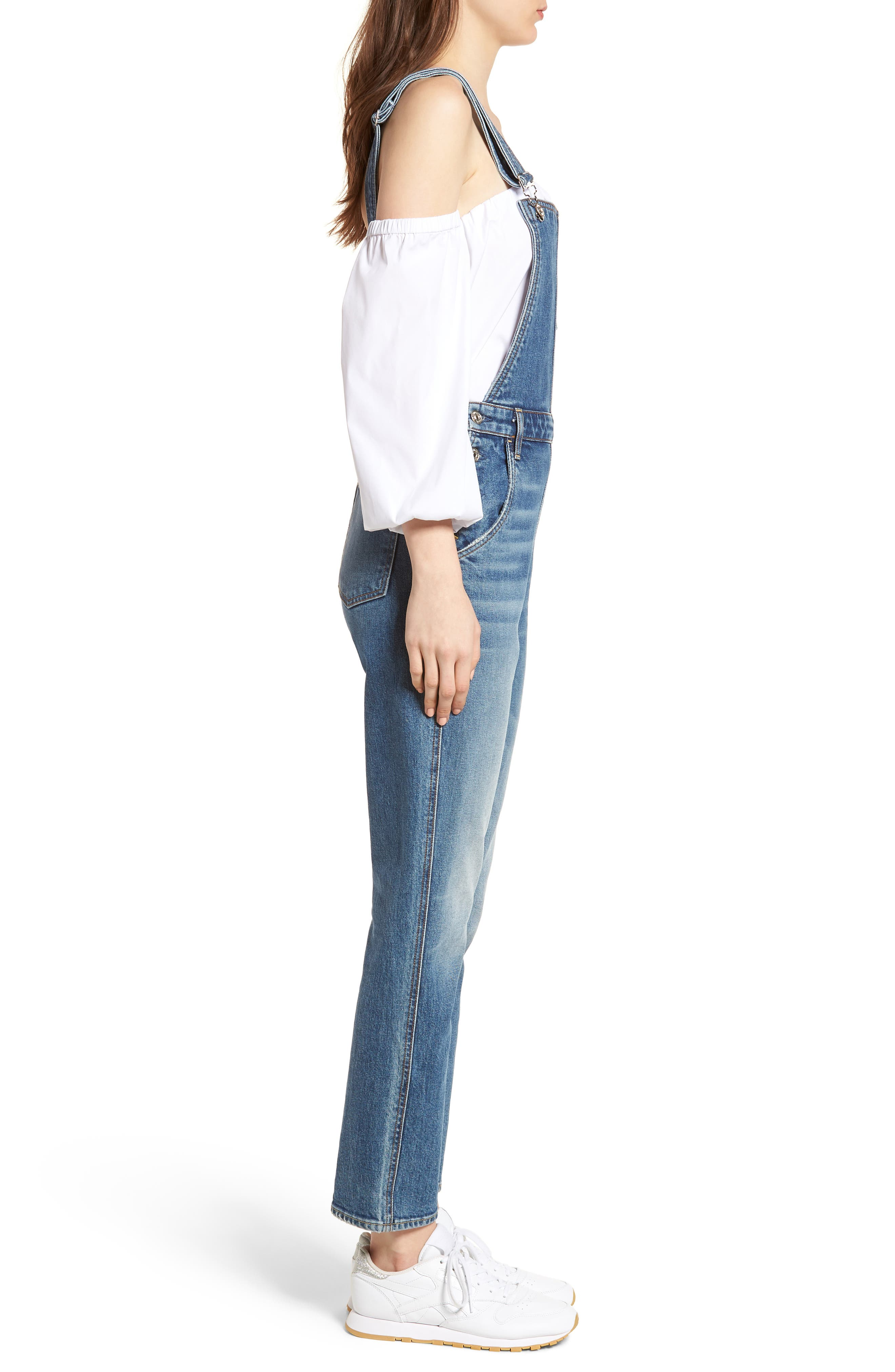 Edie Denim Overalls,                             Alternate thumbnail 3, color,                             401
