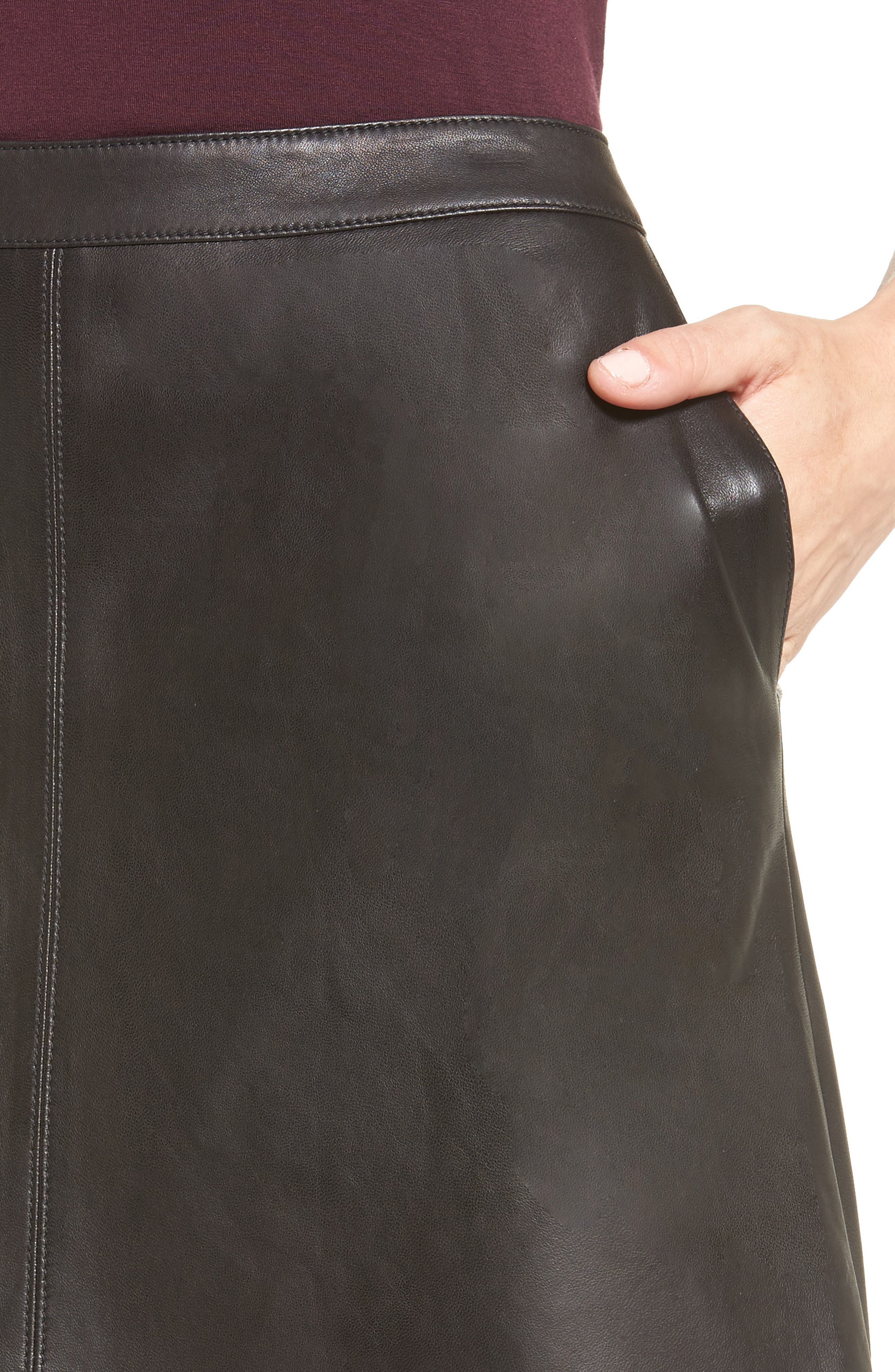 A-Line Leather Skirt,                             Alternate thumbnail 4, color,                             001