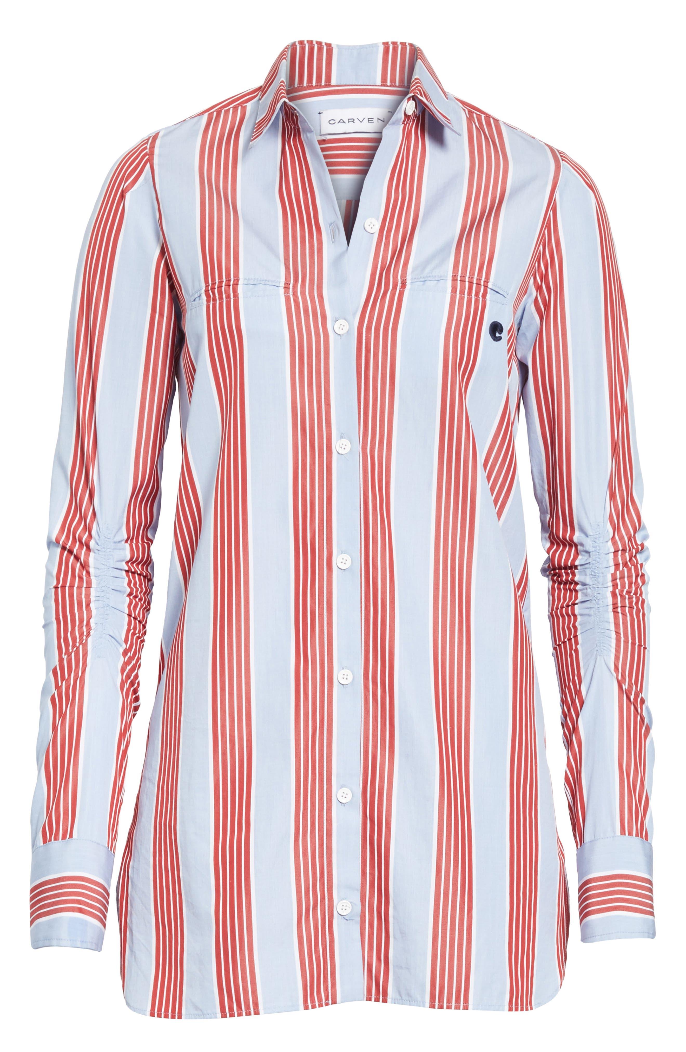 Chemise Manches Longues Stripe Shirt,                             Alternate thumbnail 6, color,                             400