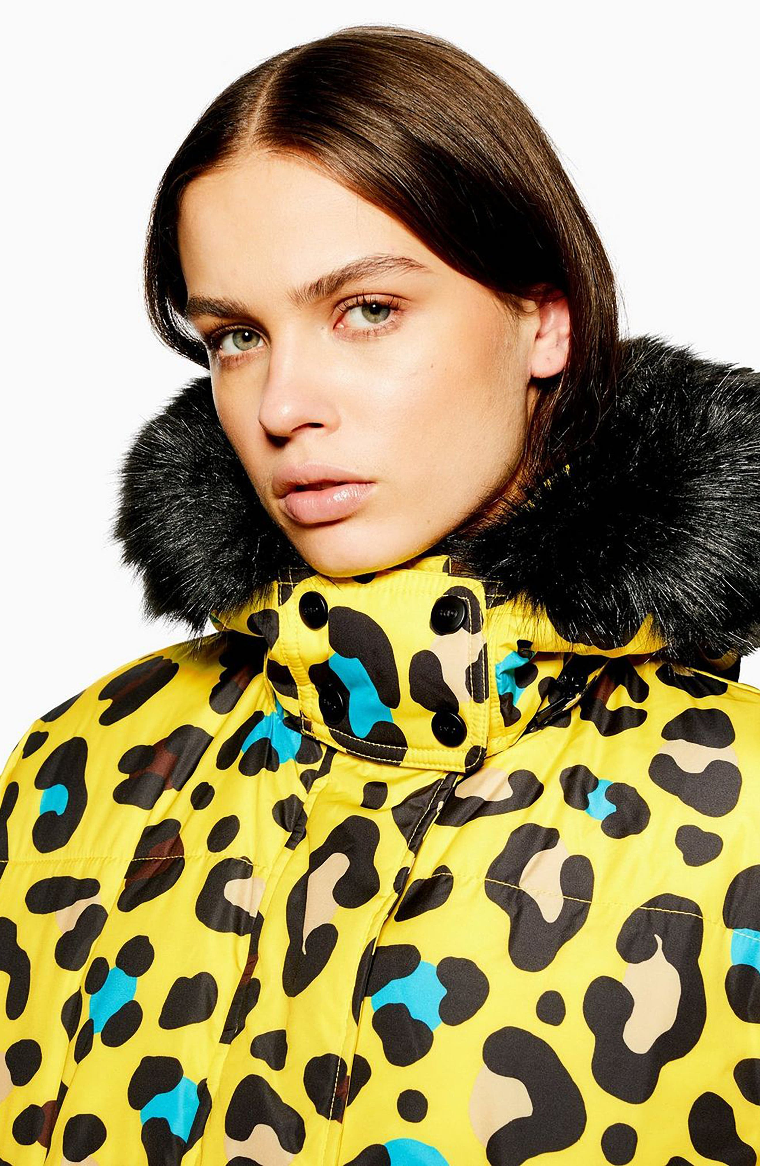 Piper Water Repellent Leopard Print Jacket & Mittens Set,                             Alternate thumbnail 7, color,                             YELLOW