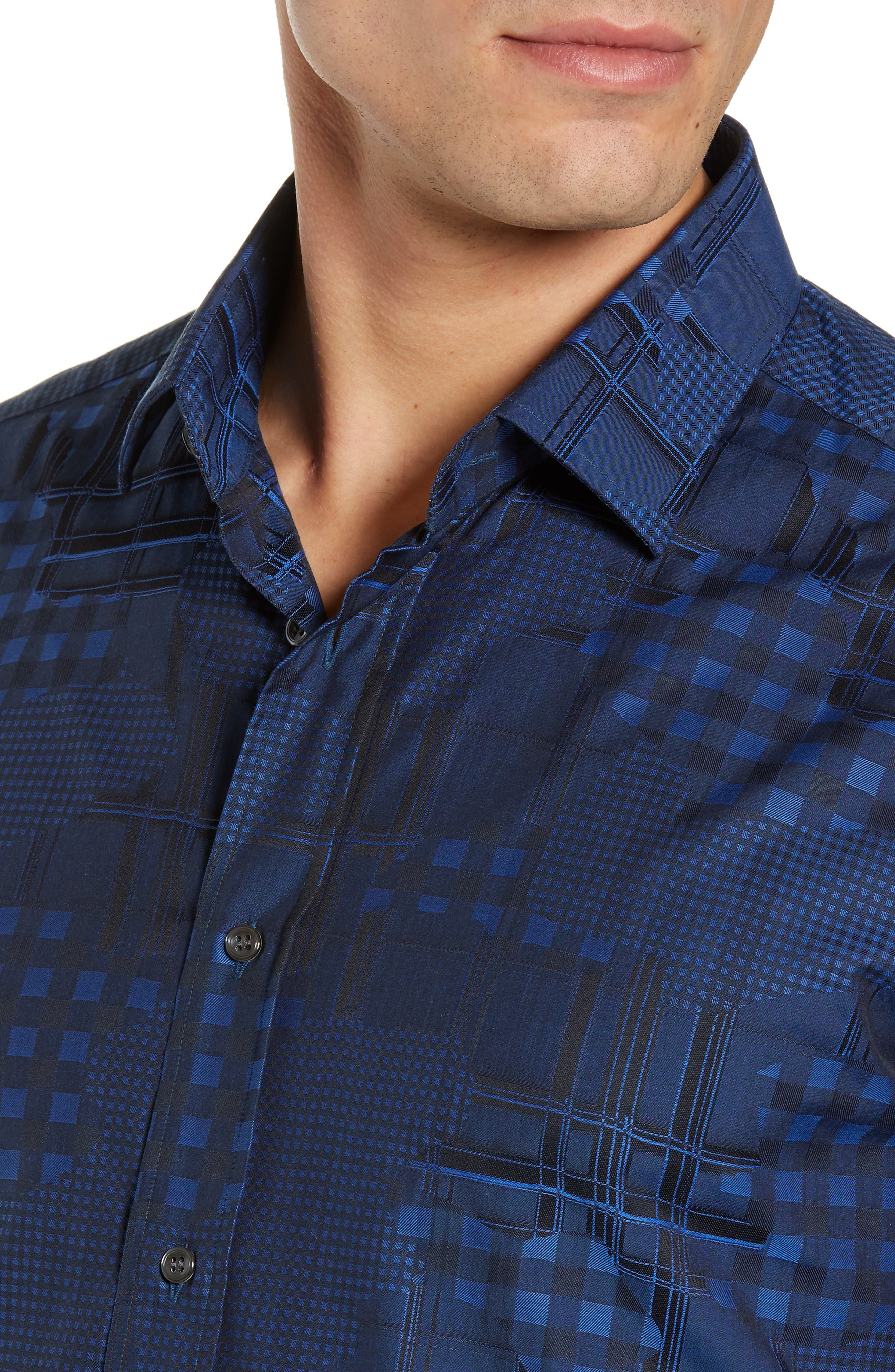 Luxor Tailored Fit Pattern Mix Sport Shirt,                             Alternate thumbnail 2, color,                             NAVY