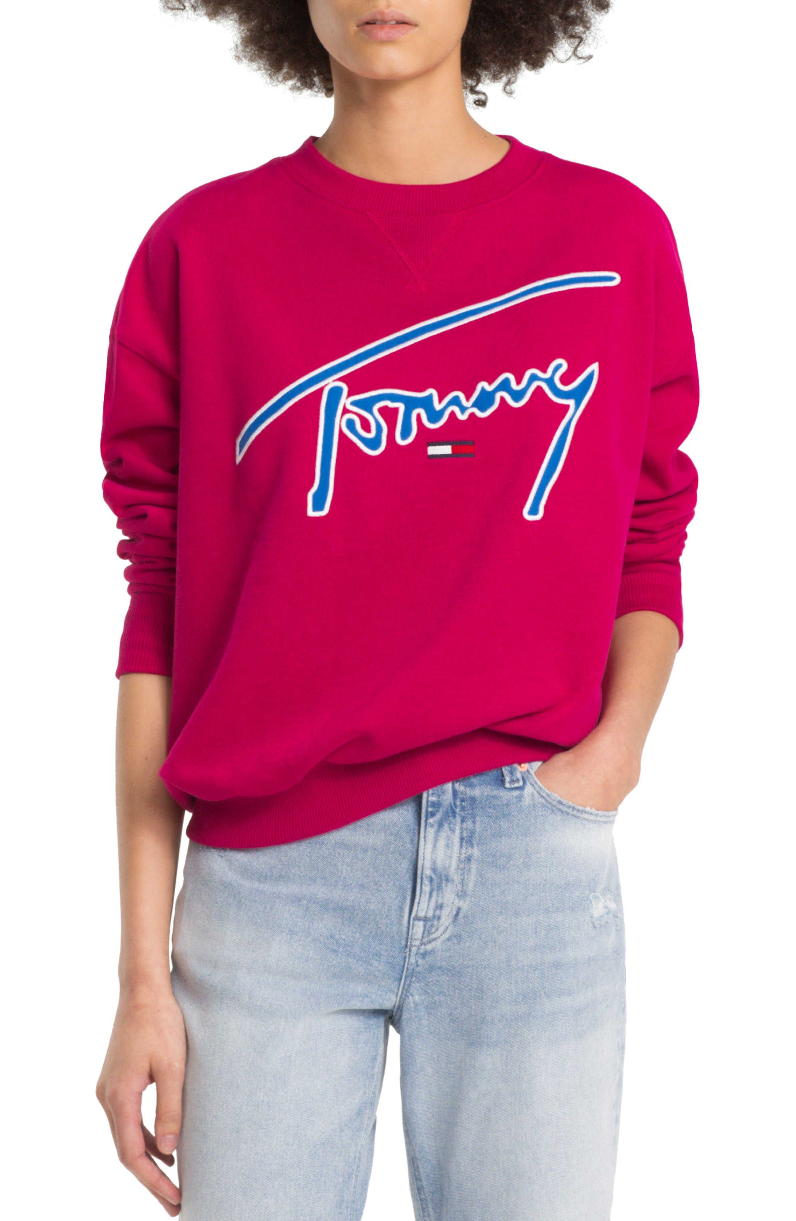 TJW Embroidered Logo Sweatshirt,                             Main thumbnail 1, color,                             CERISE
