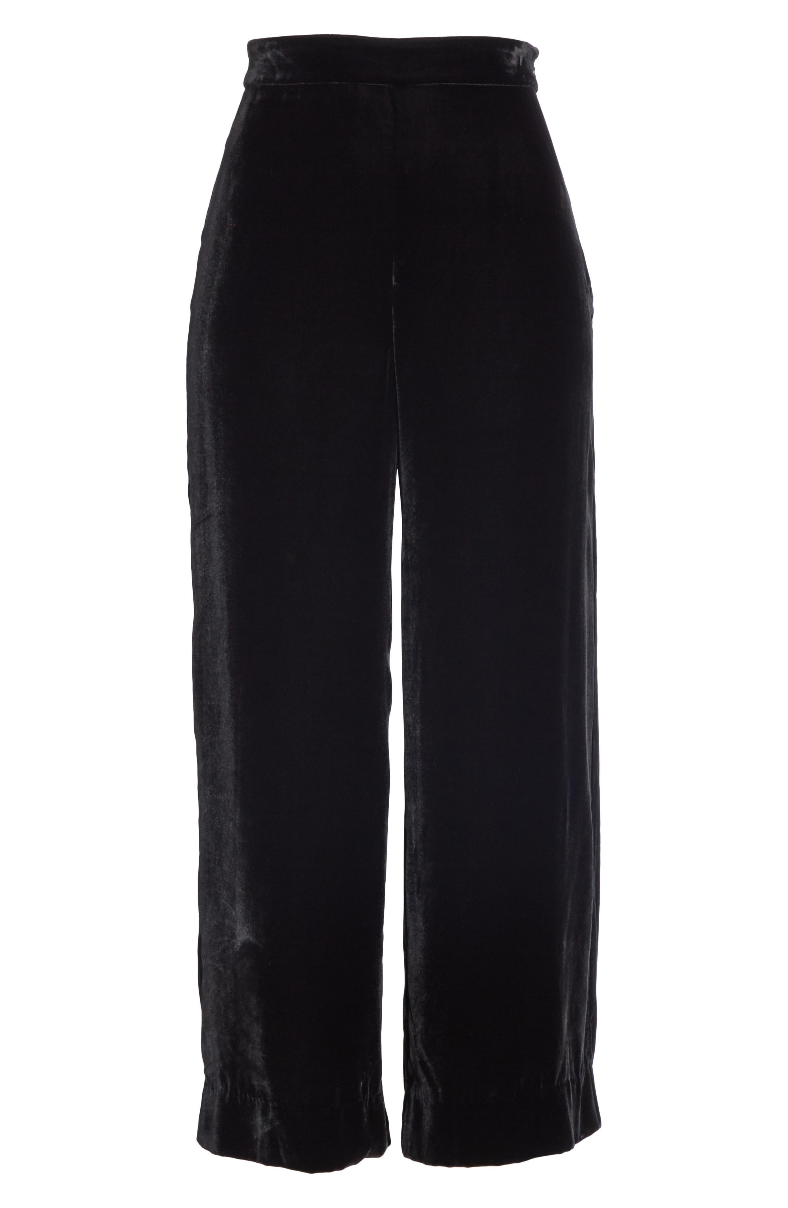 Wide Leg Crop Velvet Pants,                             Alternate thumbnail 6, color,                             BLACK