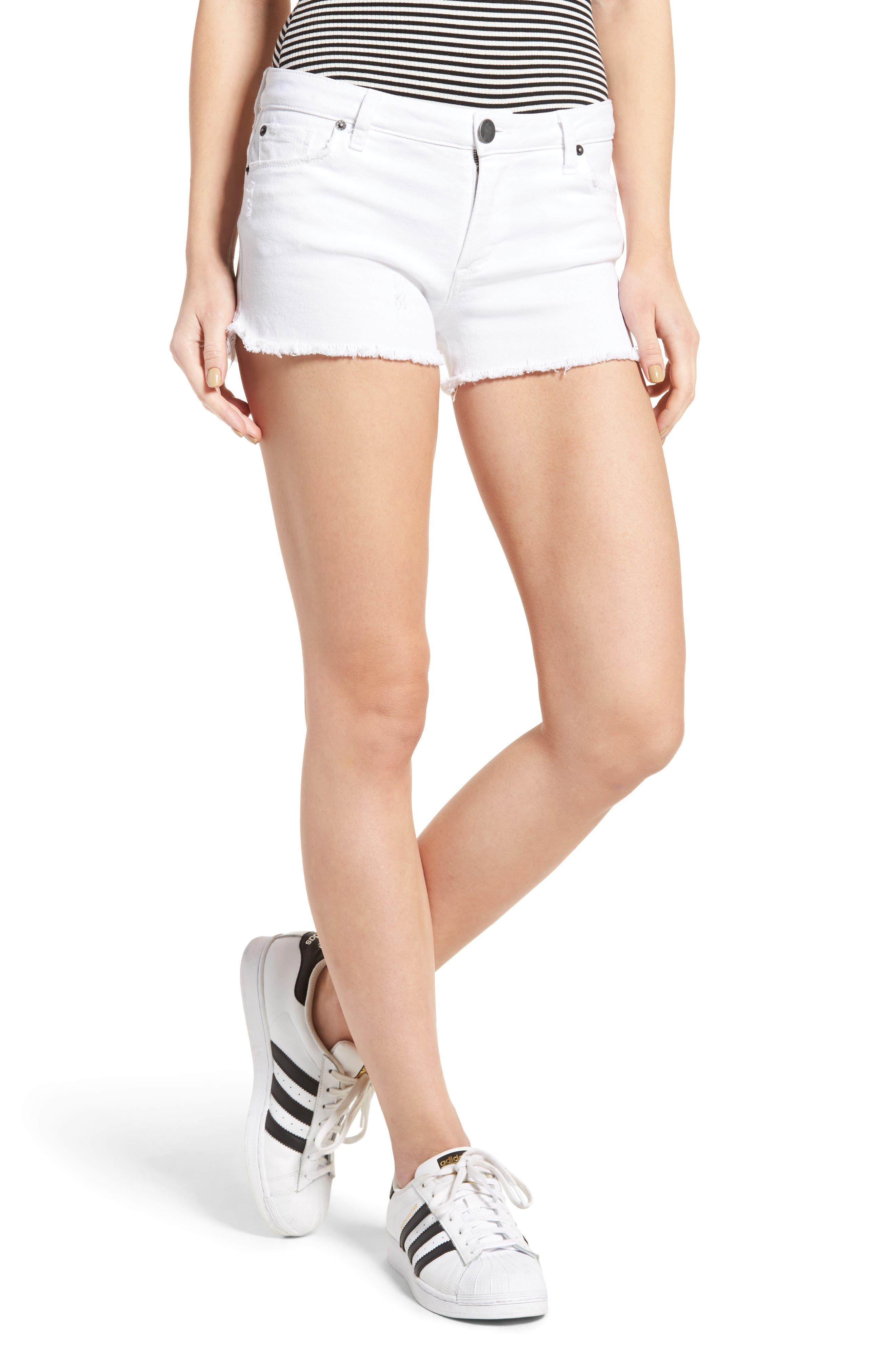 Raw Hem Denim Shorts,                             Main thumbnail 1, color,                             WHITE