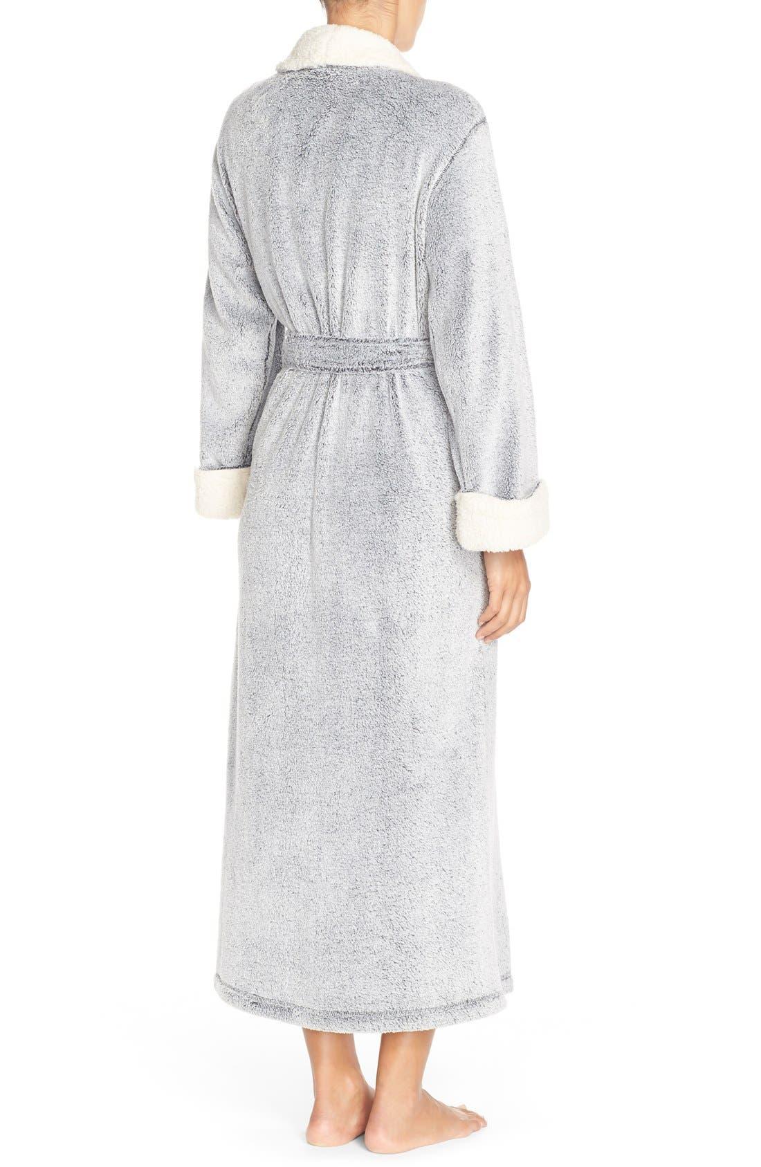 Plush Velour Robe,                             Alternate thumbnail 8, color,                             BLACK