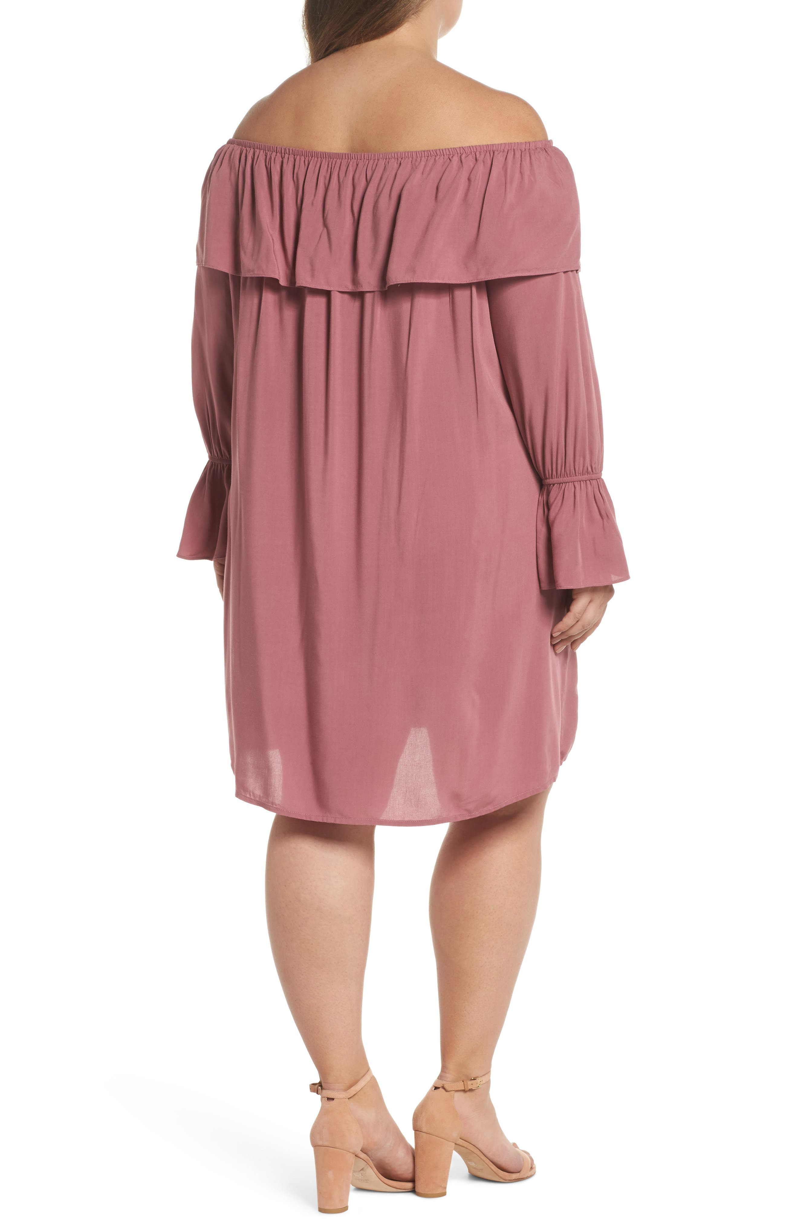 Ruffle Off-the-Shoulder Shift Dress,                             Alternate thumbnail 2, color,                             651