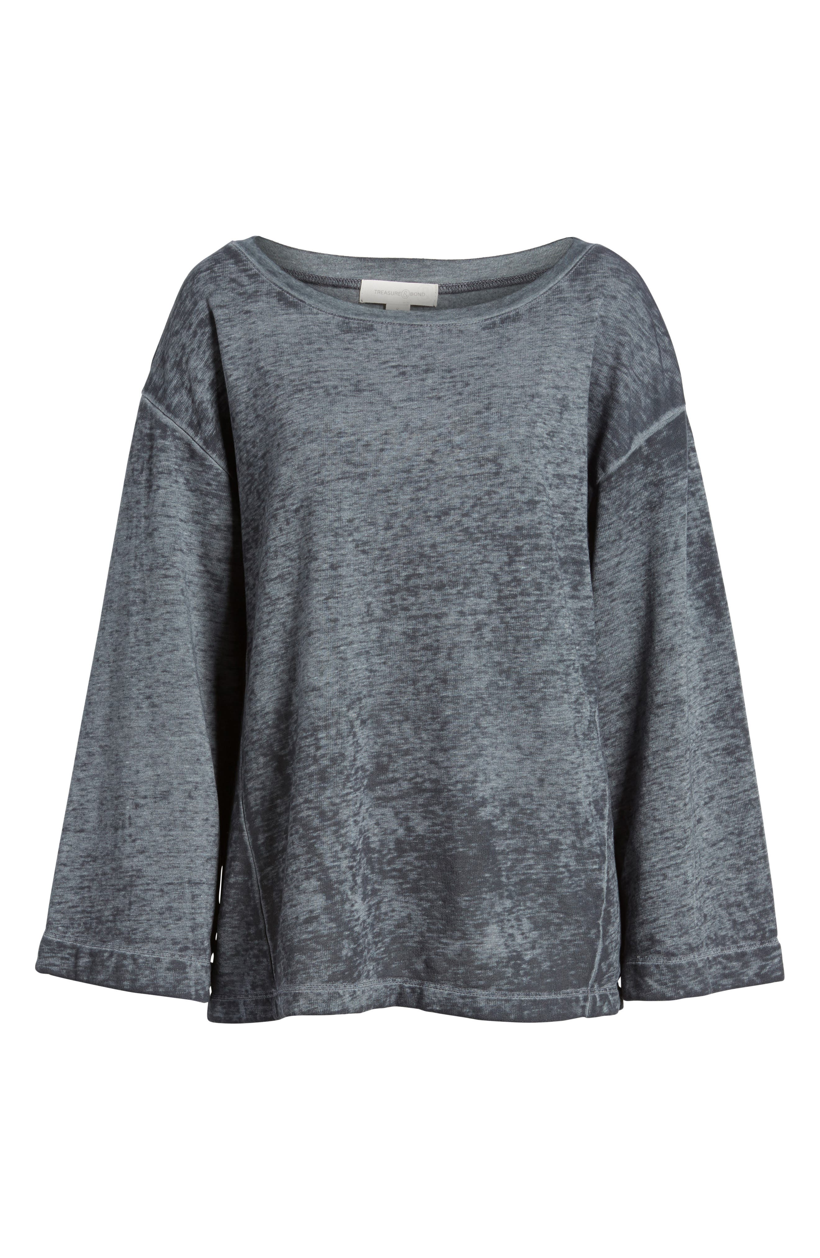 Bell Sleeve Sweatshirt,                             Alternate thumbnail 6, color,                             020