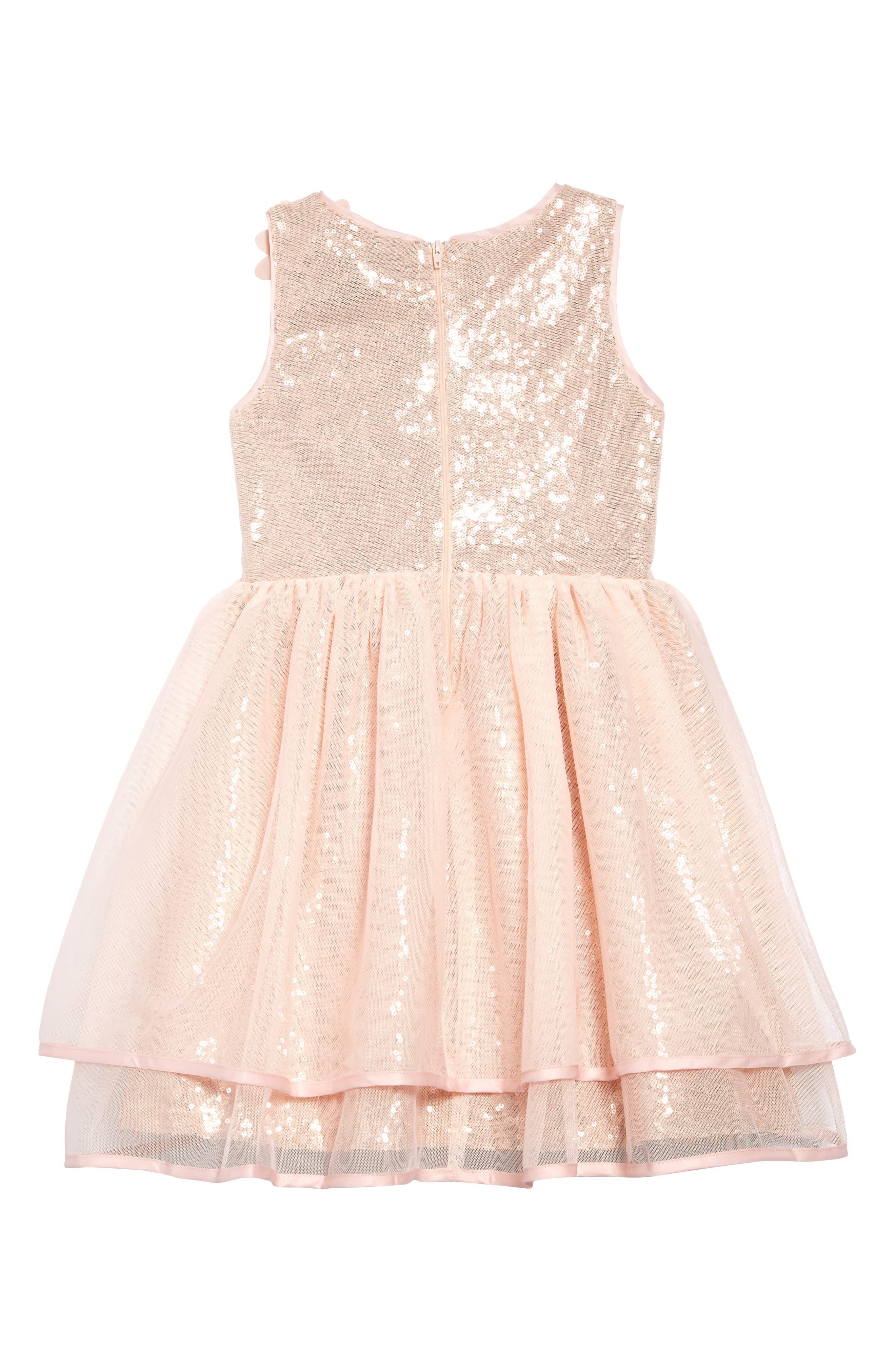AVA & YELLY,                             Floral Appliqué Sequin Dress,                             Alternate thumbnail 2, color,                             BLUSH