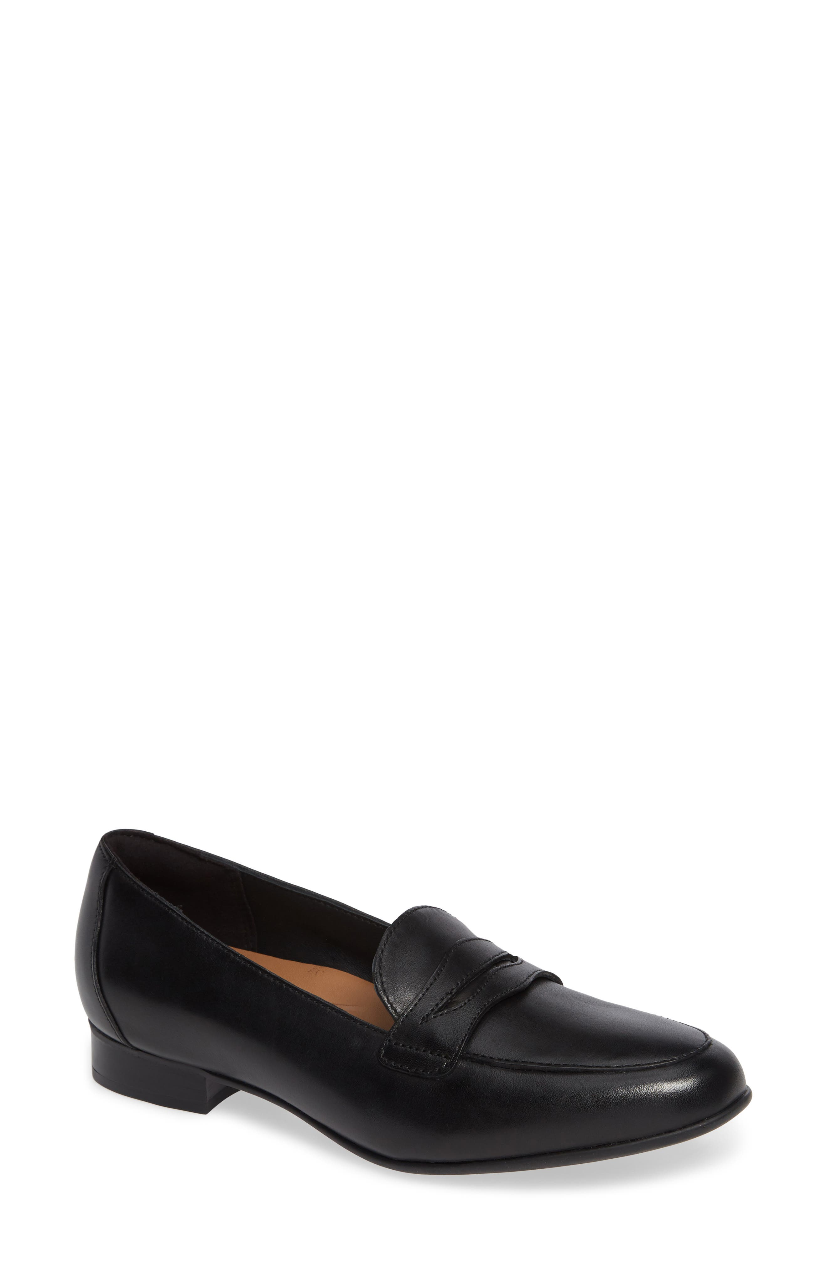 Un Blush Go Penny Loafer,                             Main thumbnail 1, color,                             BLACK LEATHER