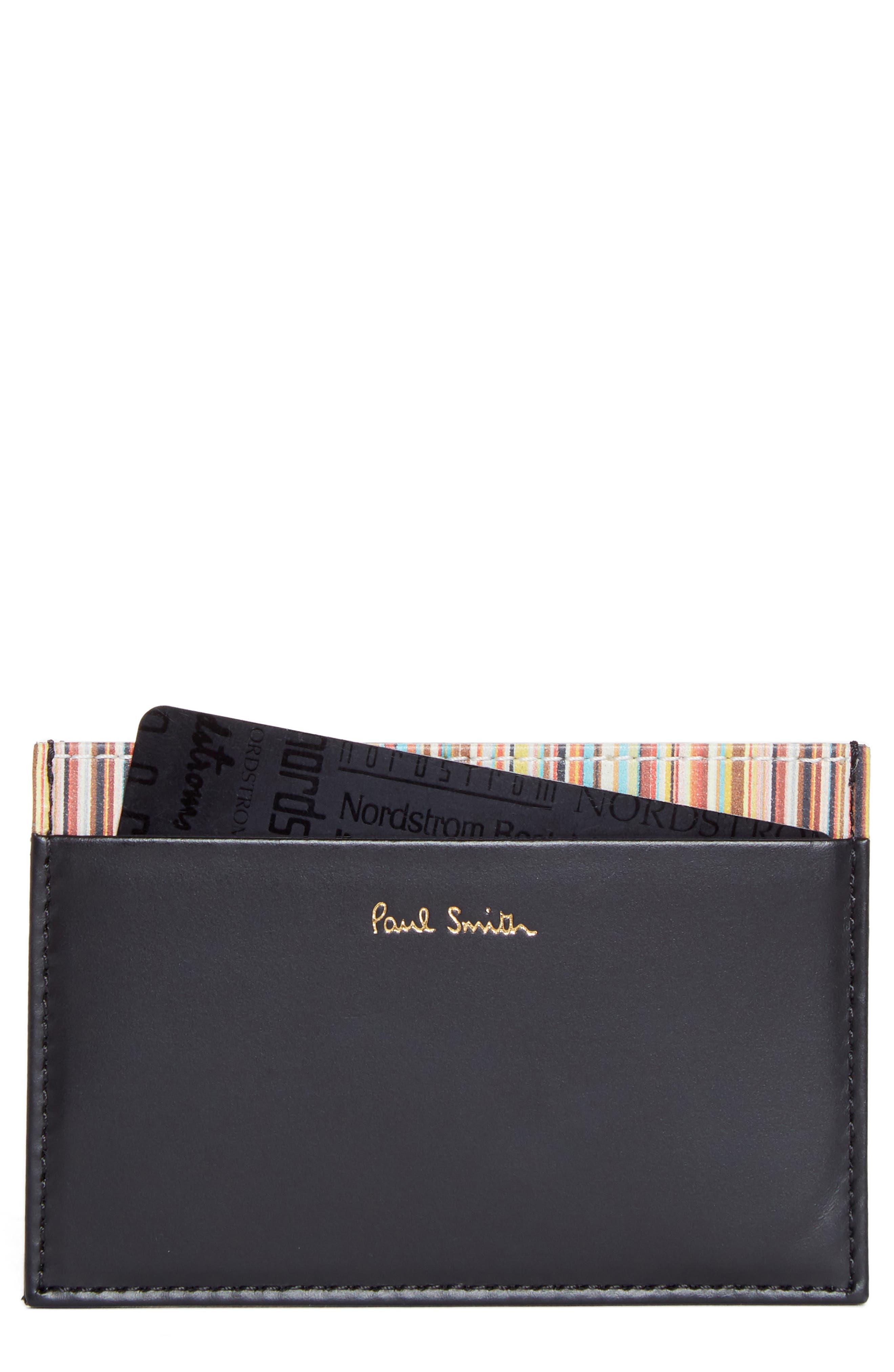 Multistripe Leather Card Case,                         Main,                         color, BLACK