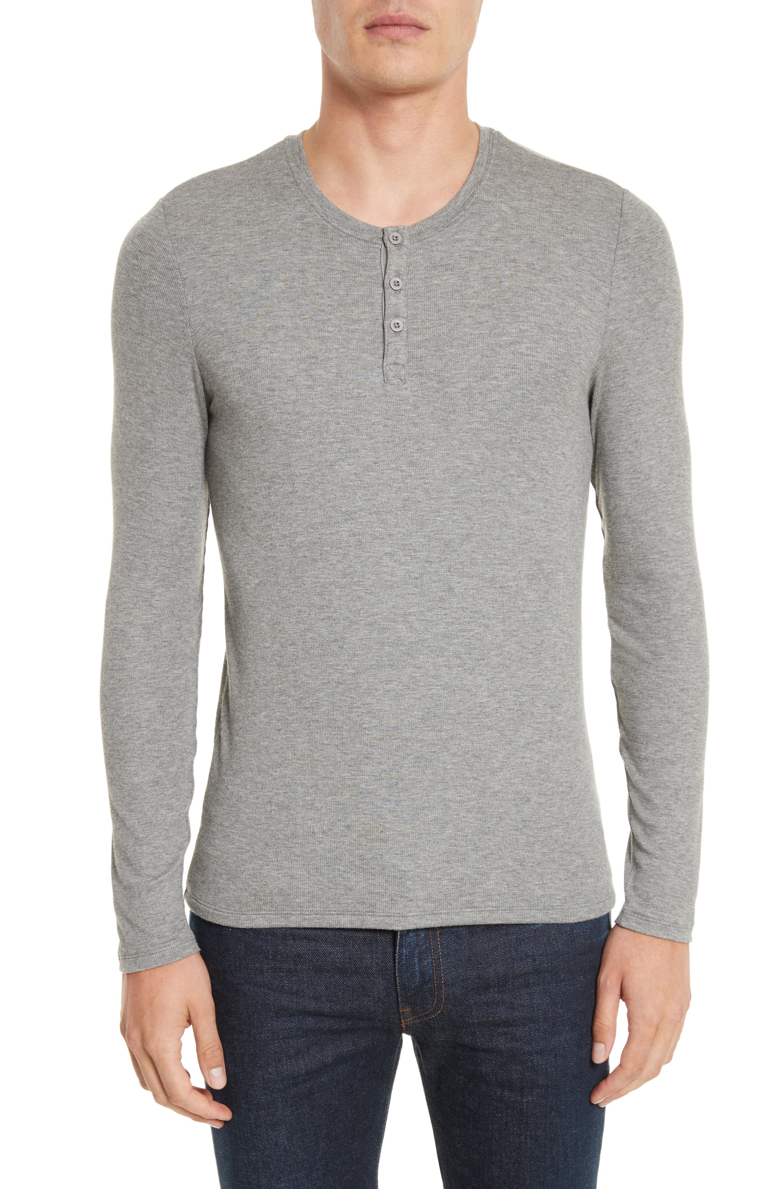 Long Sleeve Rib Henley,                             Main thumbnail 1, color,                             050