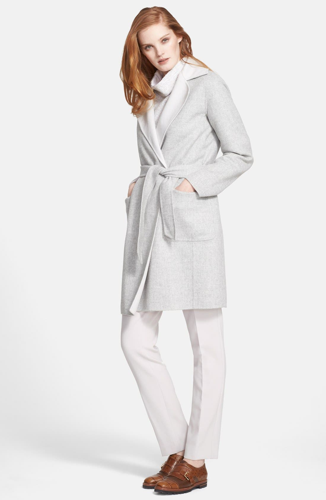 'Visone' Reversible Wool & Angora Wrap Coat with Belt,                         Main,                         color, 054